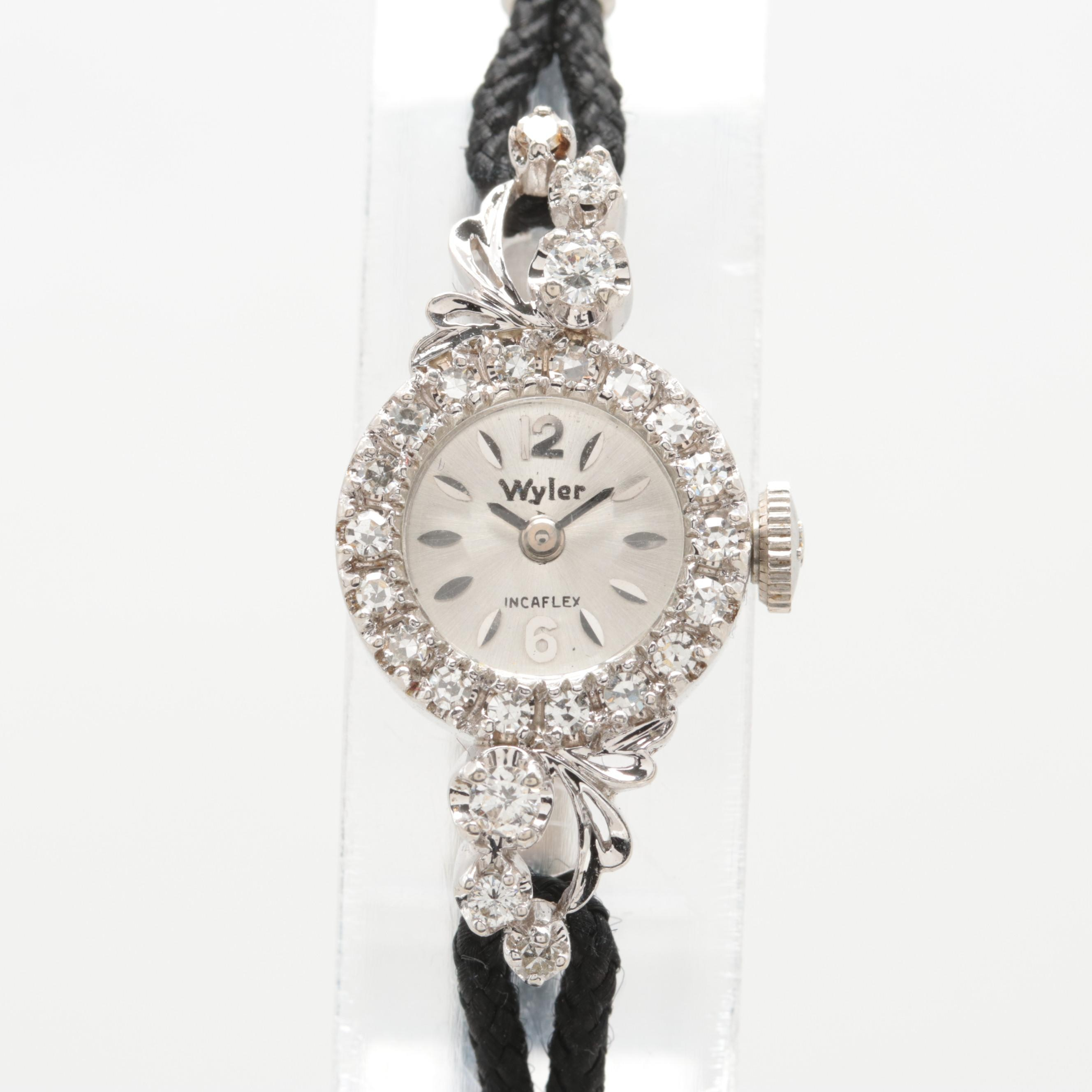 Vintage Wyler 14K White Gold Diamond Stem Wind Wristwatch