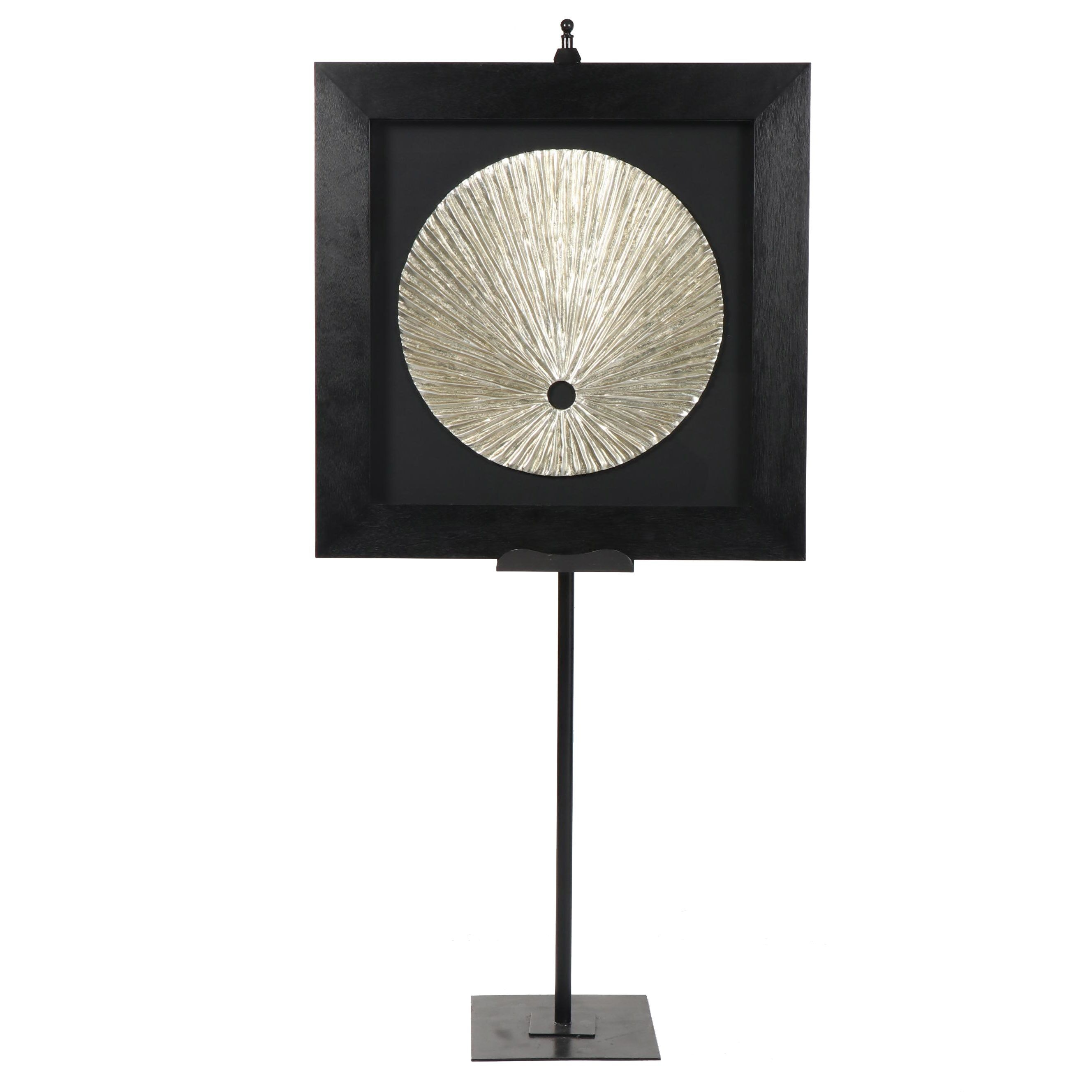 Z Gallerie Framed Silver Metallic Disc on Stand