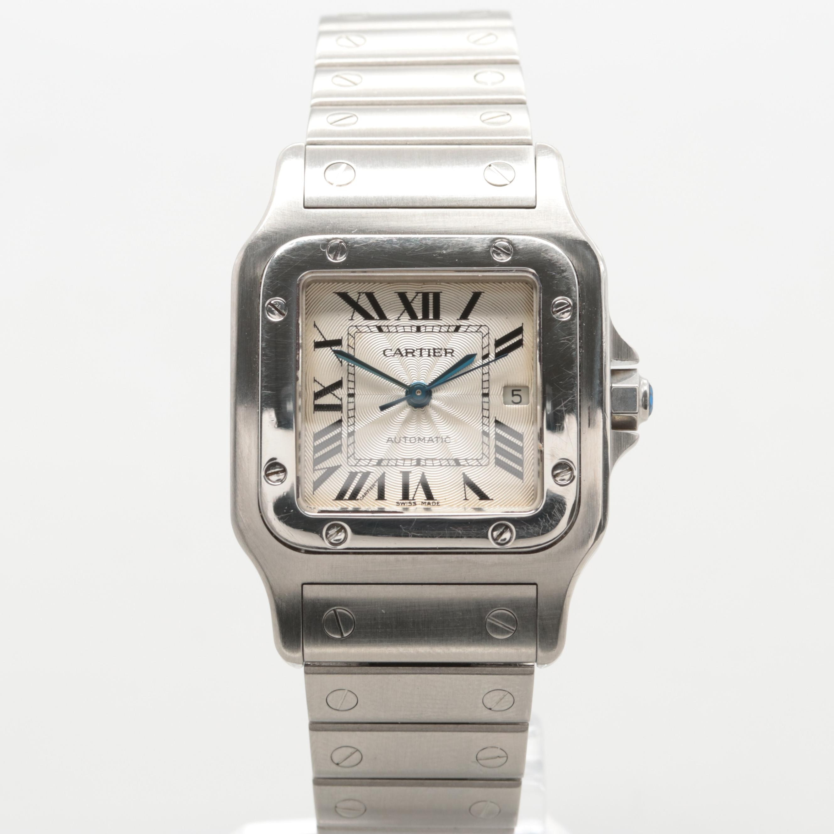 Cartier Santos Galbee Stainless Steel Automatic Wristwatch With Date Window