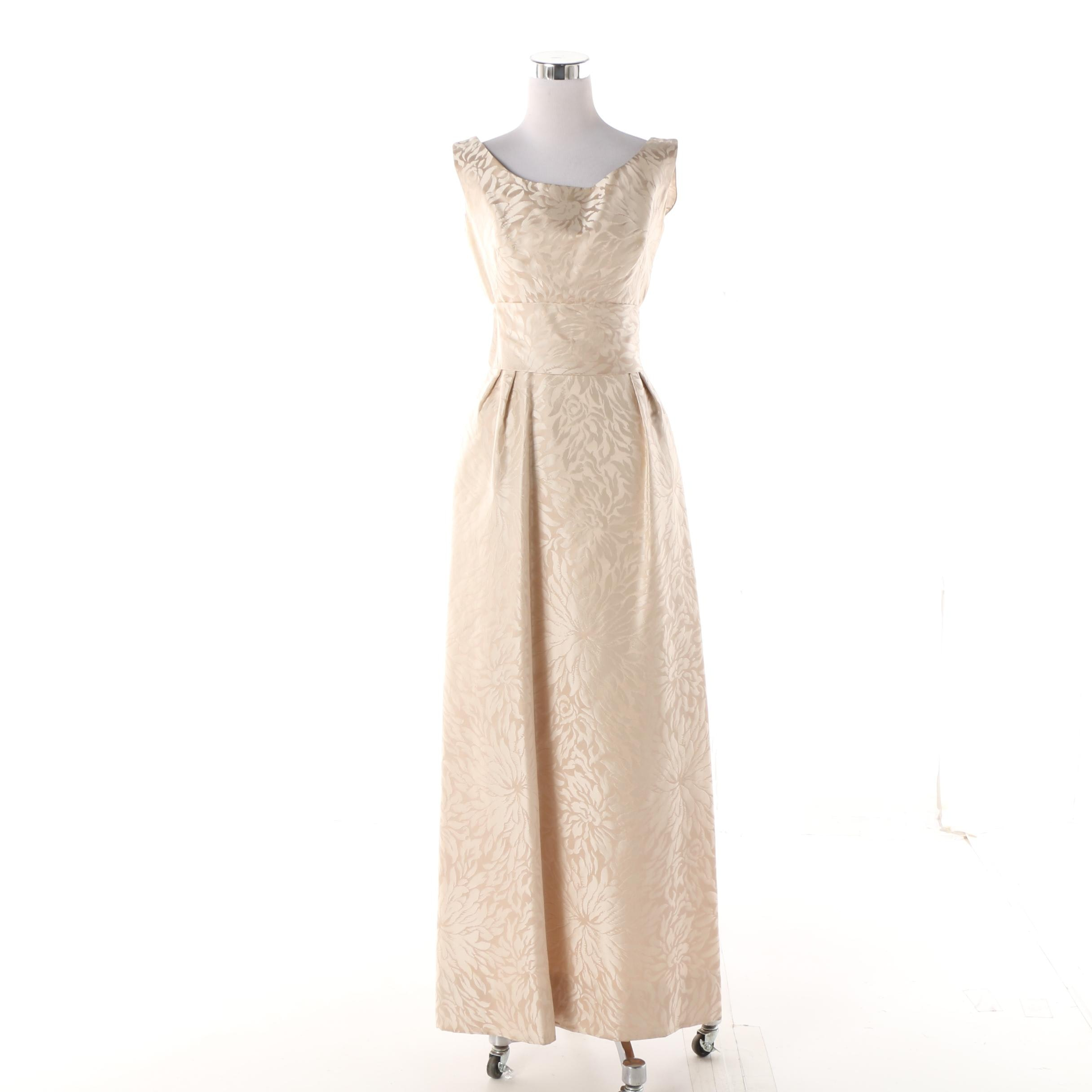 1960s I. Magnin Champagne Jacquard Chrysanthemum Sleeveless Gown with Bow Belt