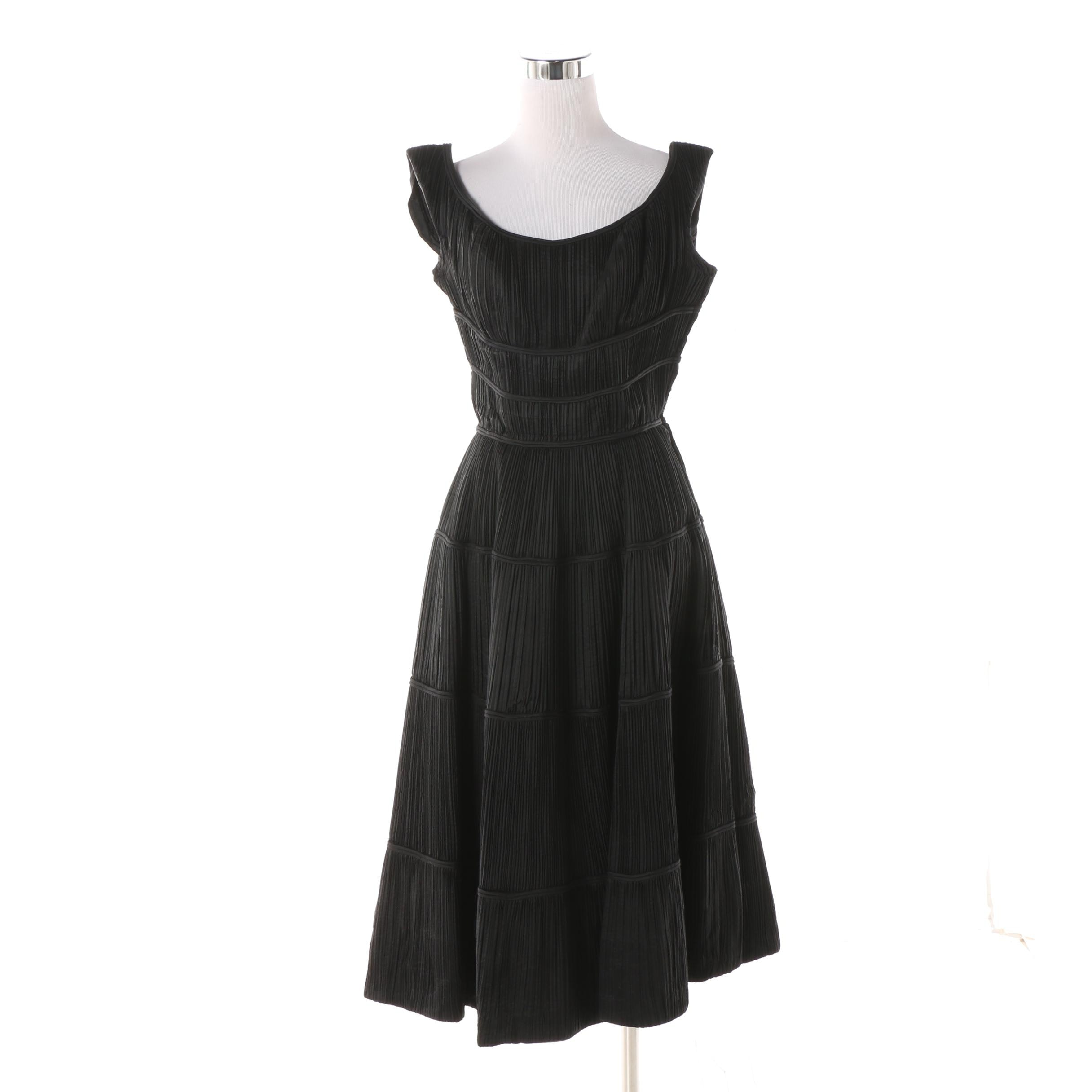 Women's 1950s Vintage Ceil Chapman Ruched Silk Sleeveless A-Line Cocktail Dress