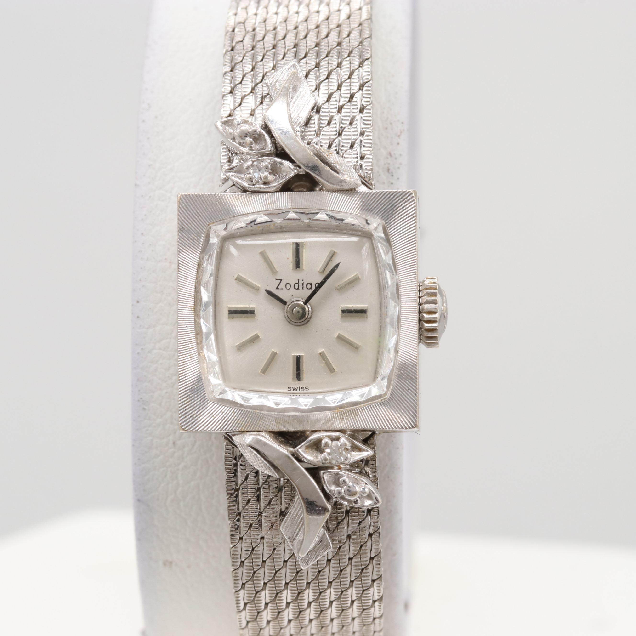 Vintage Zodiac 14K White Gold Diamond Stem Wind Wristwatch