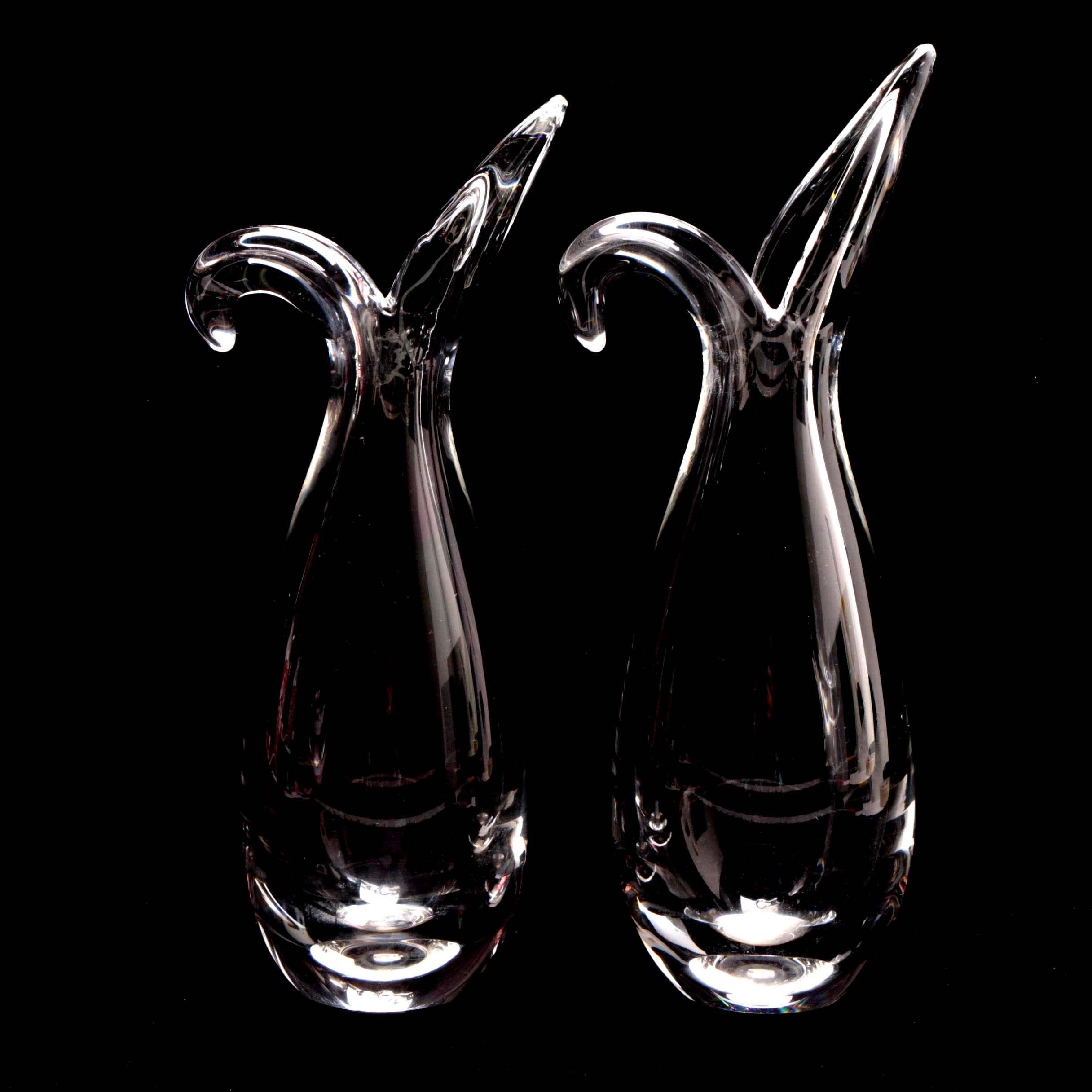 "Pair of Steuben Glass ""Sheared Rim Heritage Rein"" Vases"