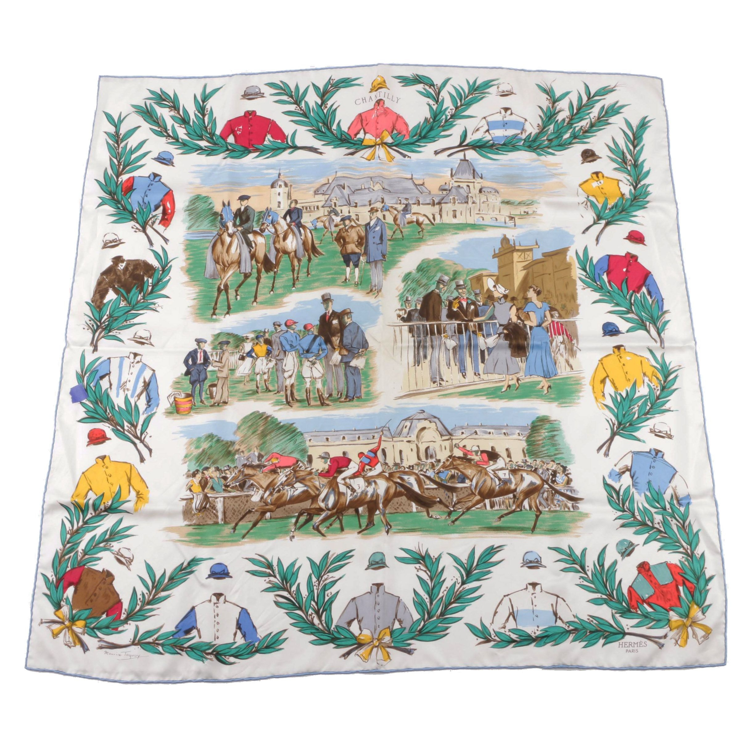 "Vintage Hermès of Paris ""Courses a Chantilly"" Silk Scarf"