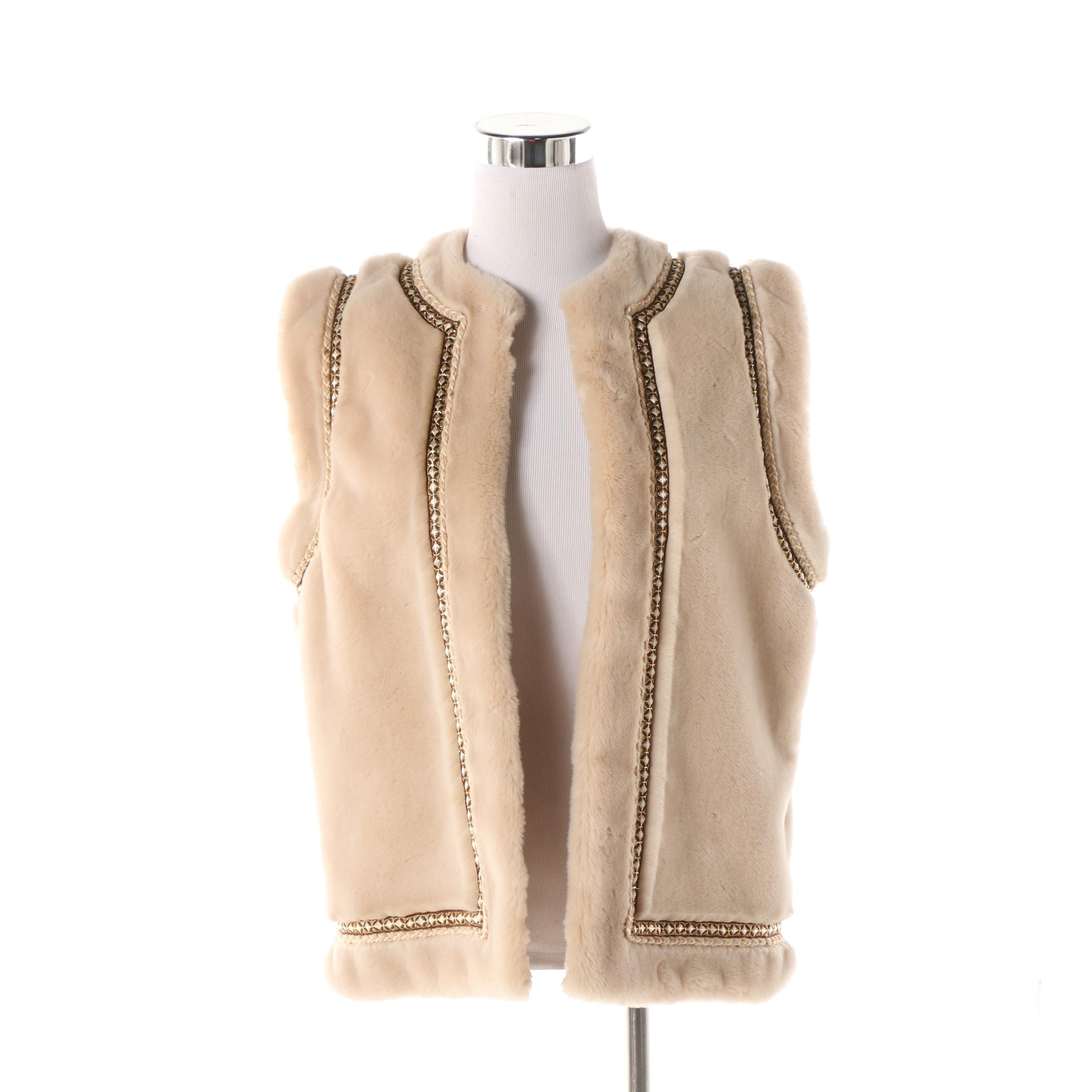 Women's Vintage J. Tiktiner Beige Faux Fur Vest