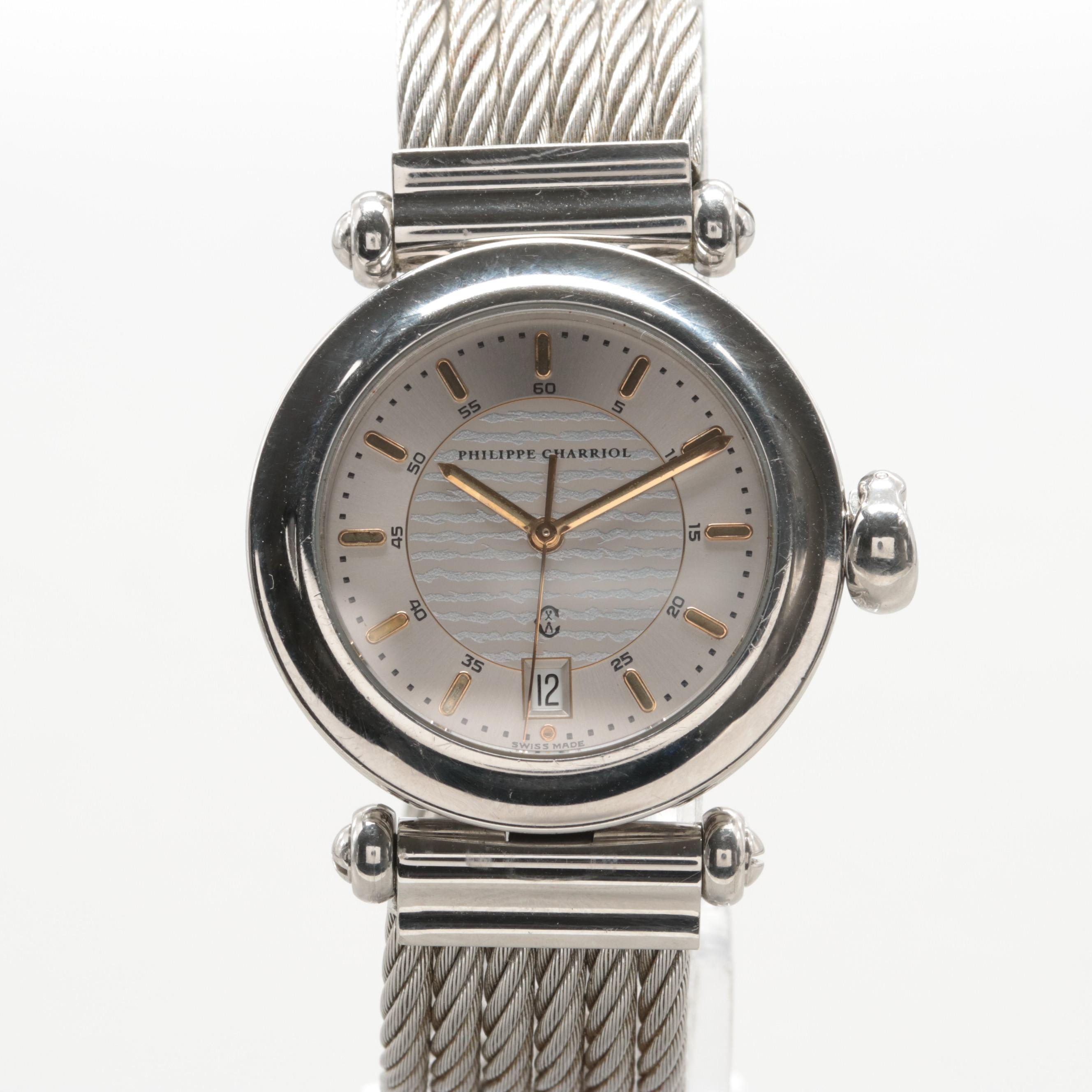 Philippe Charriol Stainless Steel Wristwatch With Date Window