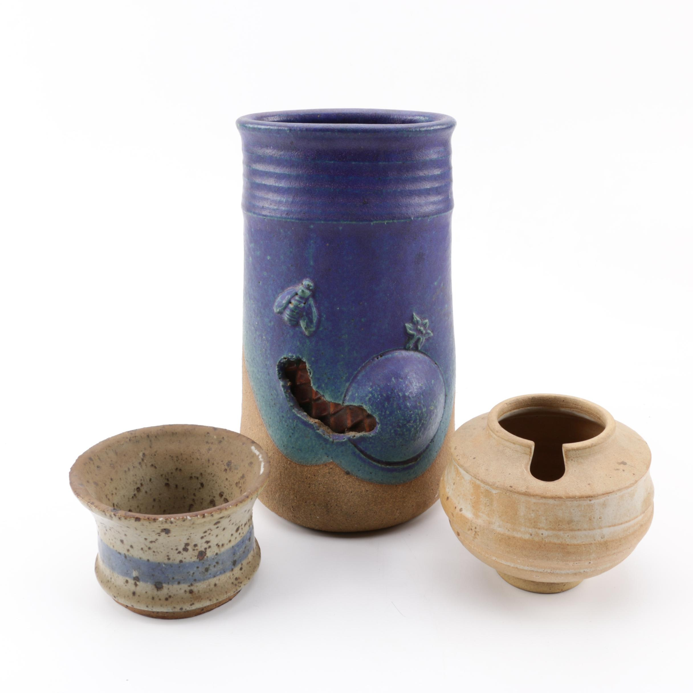 Michael Cohen Stoneware Vase and Other Art Pottery