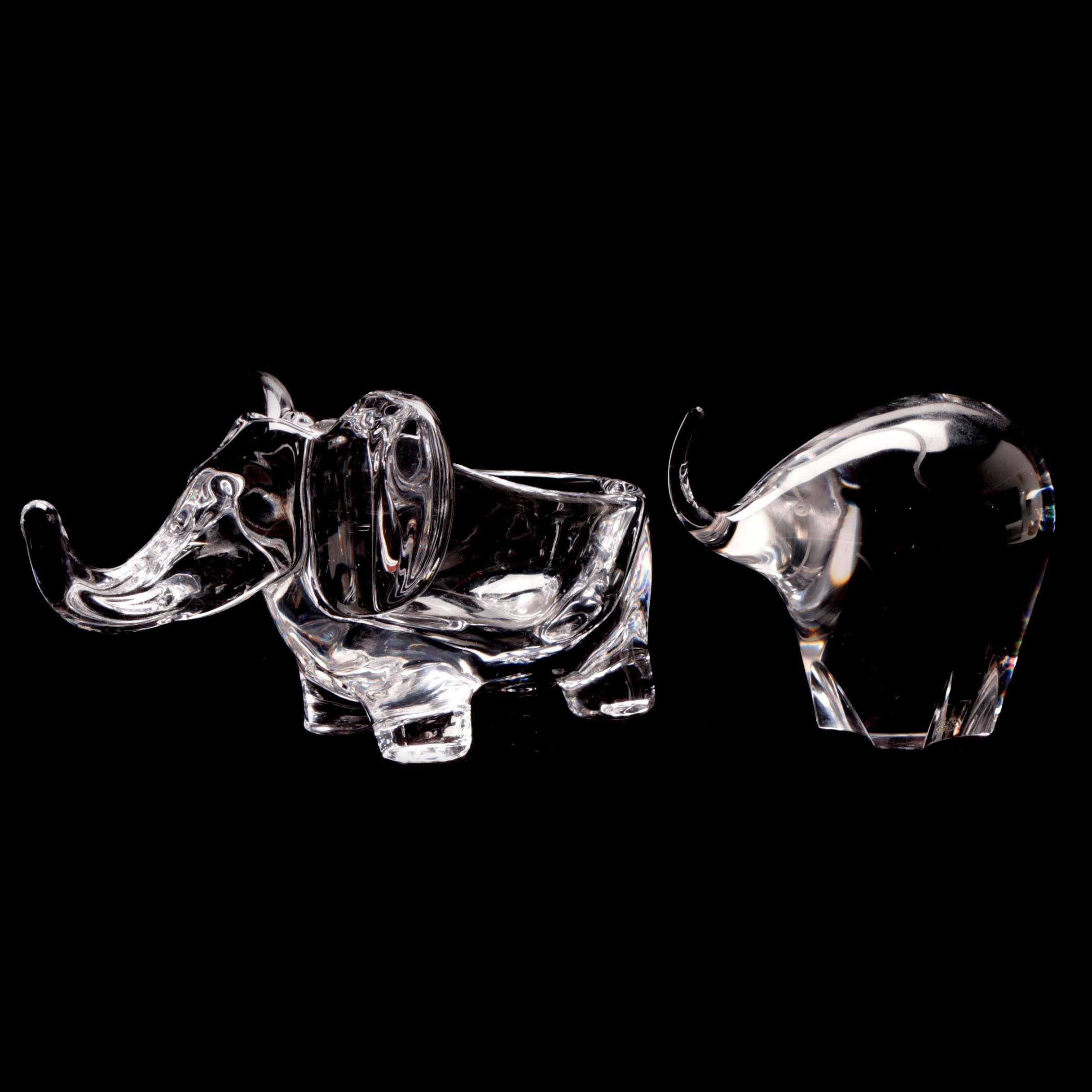 Kosta Boda and Art Vannes Crystal Elephant Pipe Holder and Paperweight