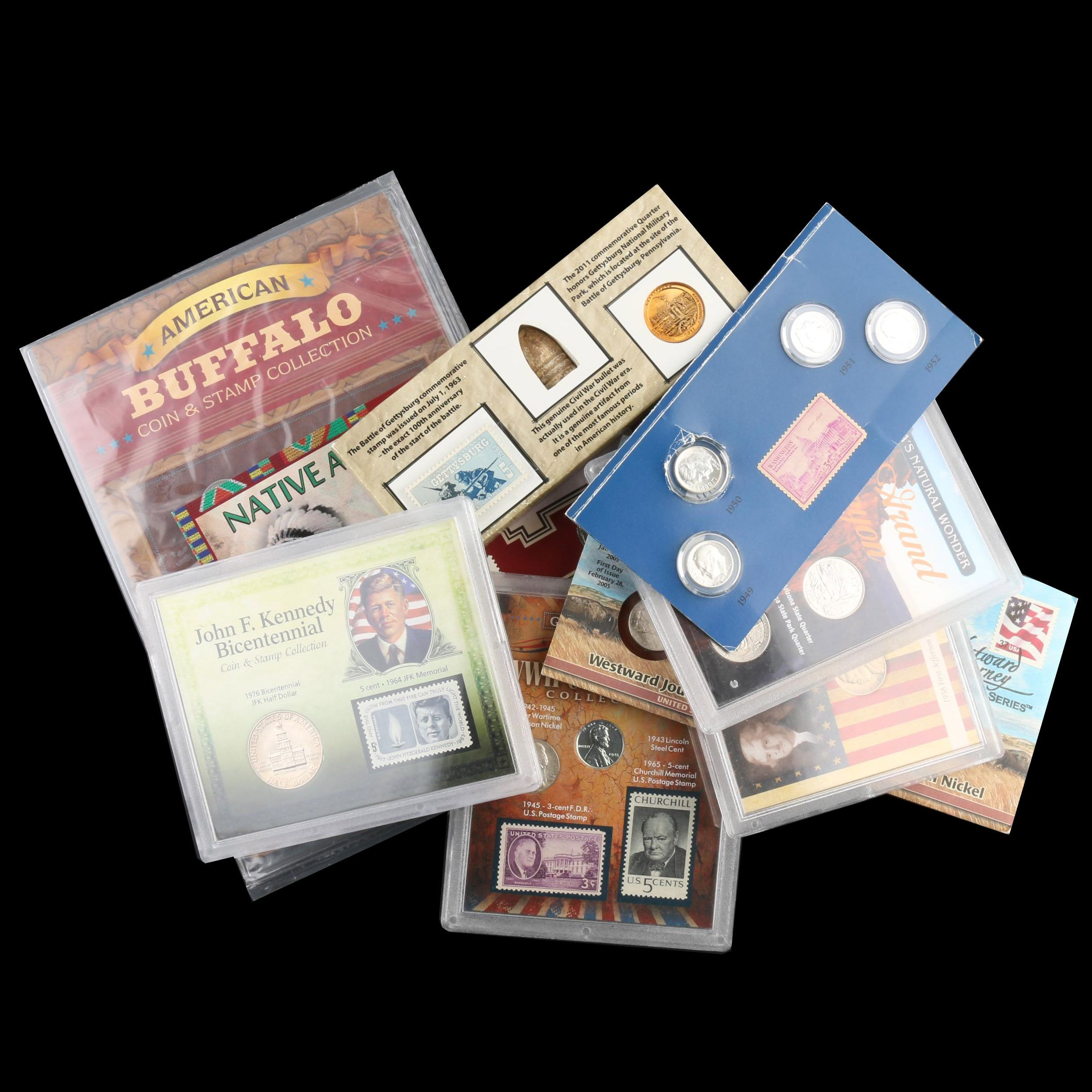 Group of Ten U.S. Coin and Stamp Sets