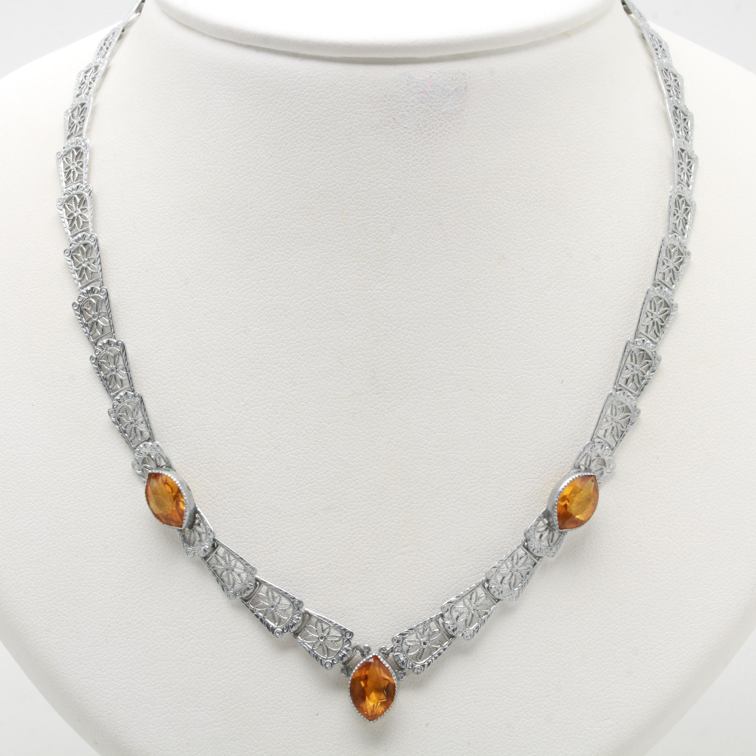 Art Deco Silver Tone Amber Colored Glass Necklace