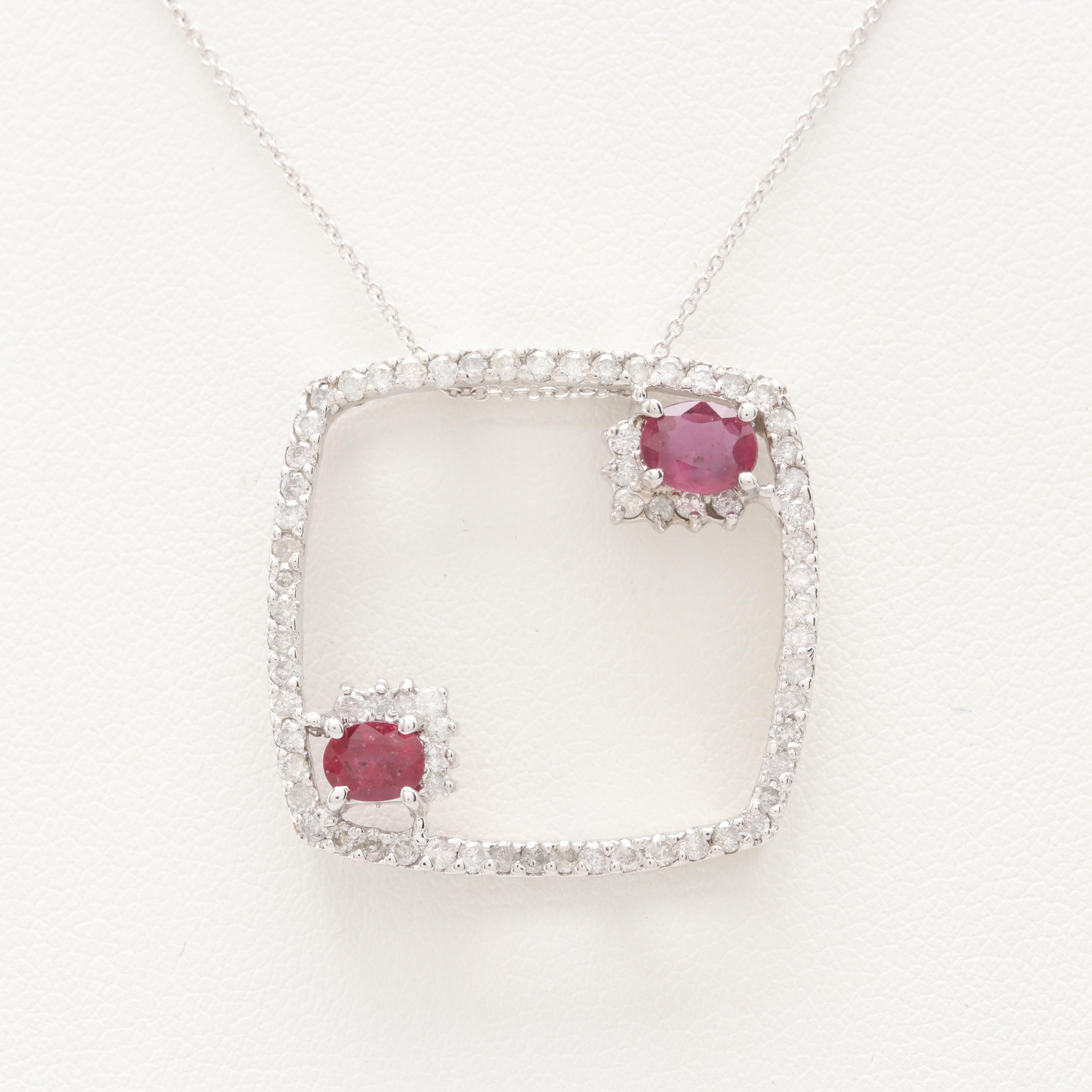 14K White Gold Ruby and 1.03 CTW Diamond Necklace