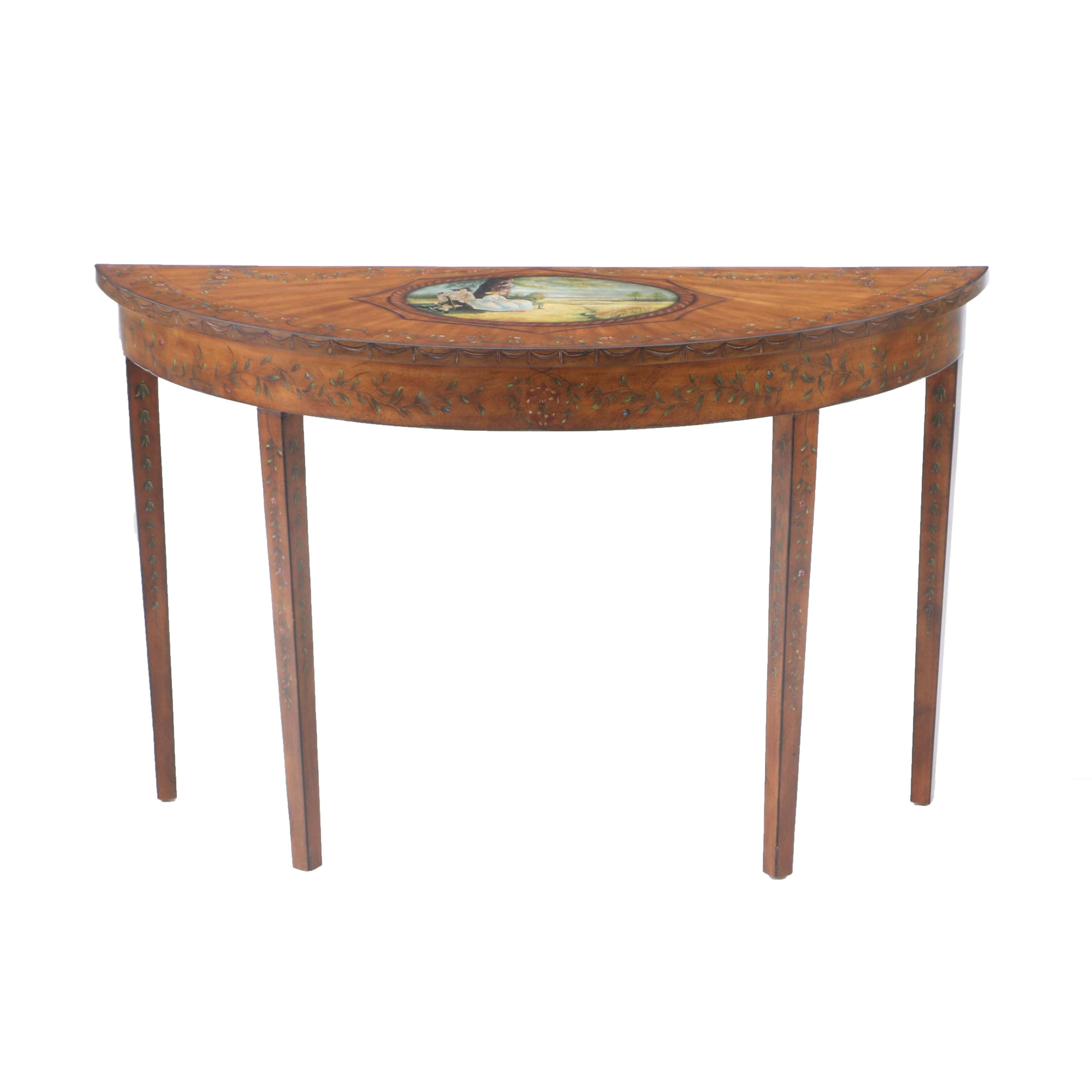 Adams Style Painted Demilune Table