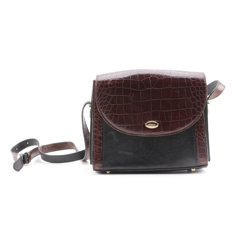 7a4189dabd3a Vintage Bally Embossed Leather Crossbody Bag in Two-Tone Leather   EBTH