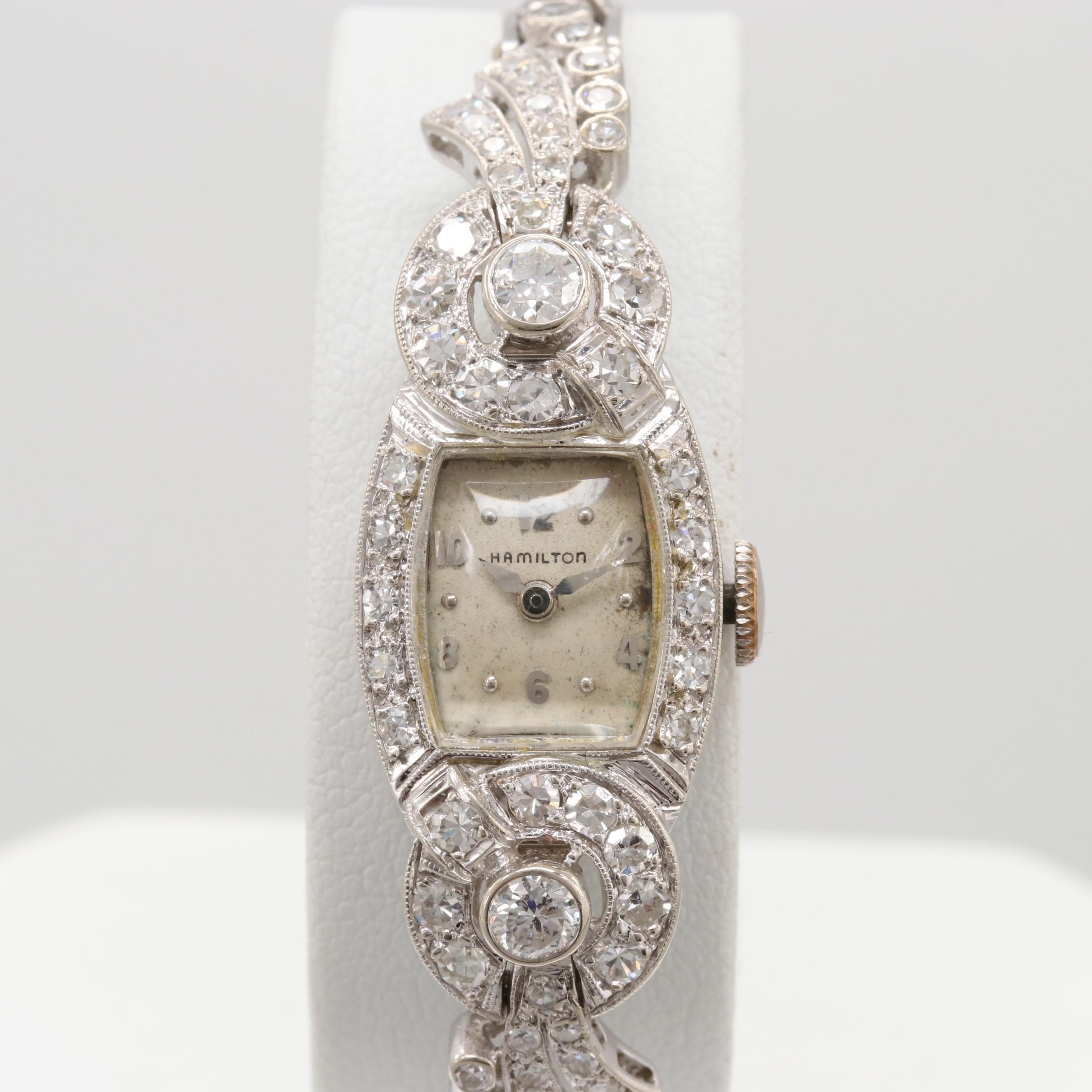 Hamilton 14K White Gold 1.98 CTW Diamond Bezel and Bracelet Wristwatch