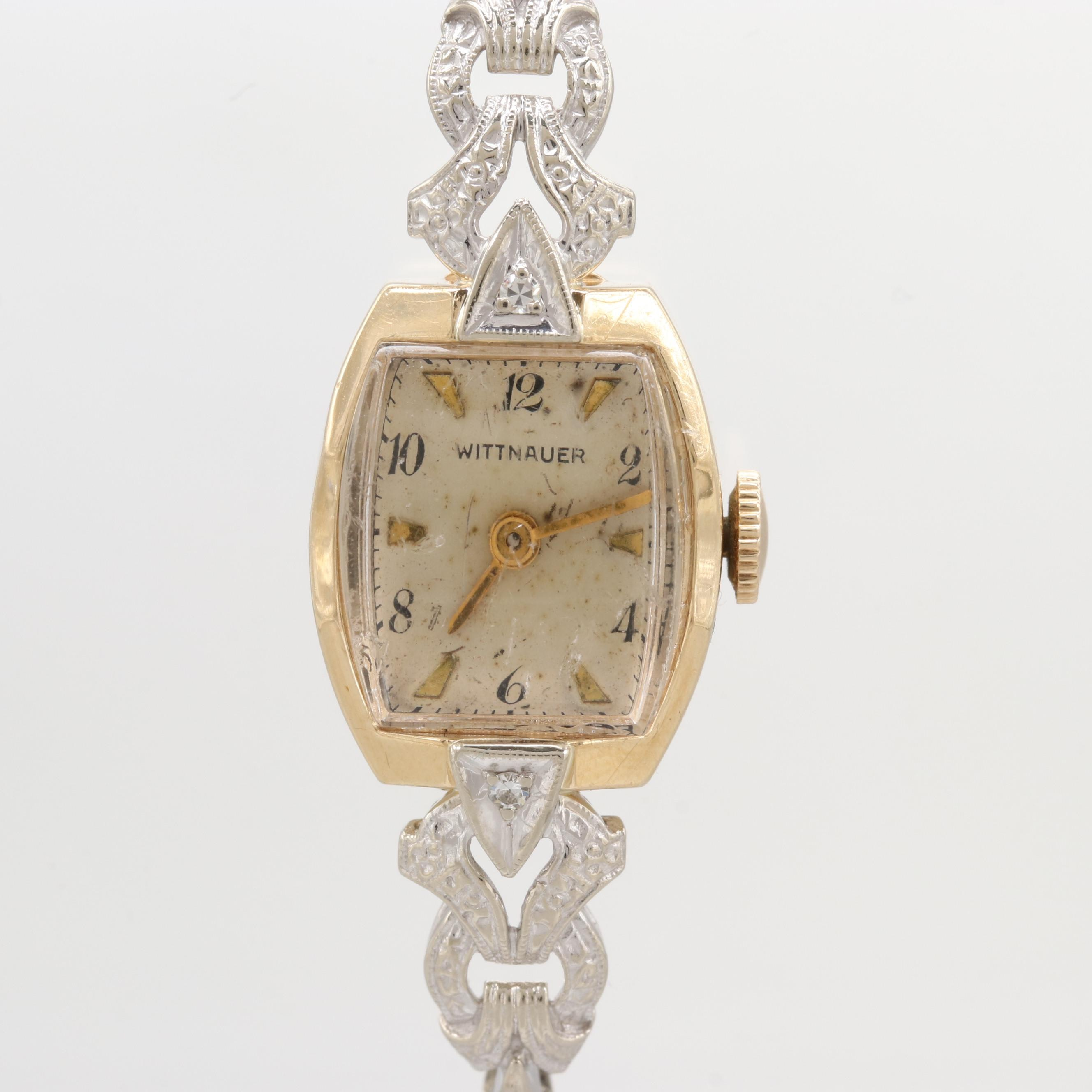 Vintage Wittnauer 14K Yellow and White Gold Wristwatch With Diamond Lugs