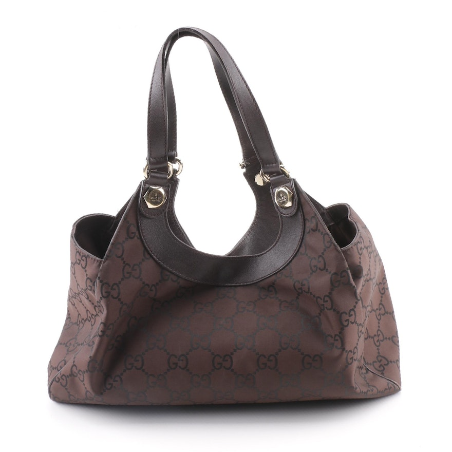 d37fb4536f28 Gucci GG Dark Brown Nylon Canvas and Leather Shoulder Bag