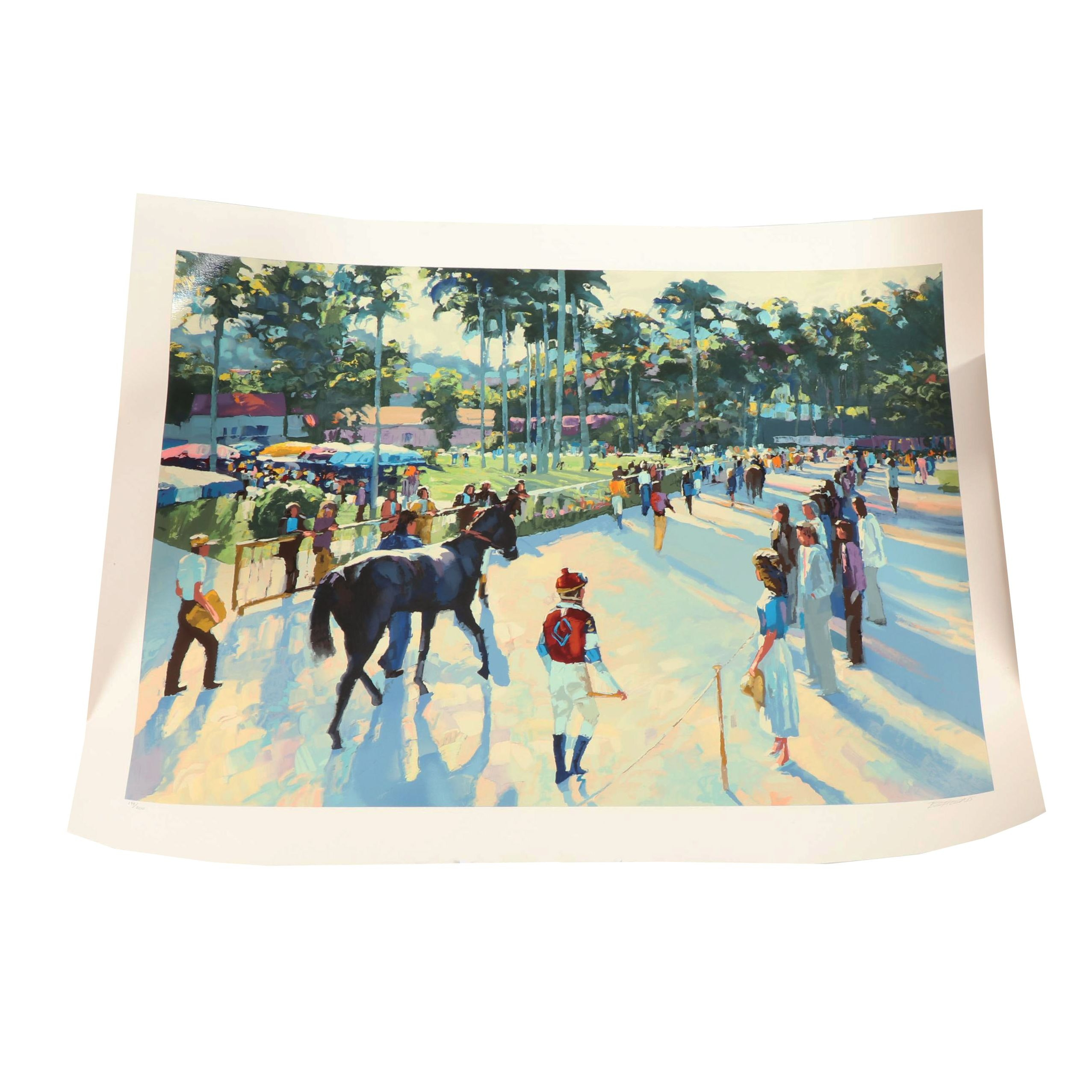"""Howard Behrens Serigraph """"A Day at the Races"""""""