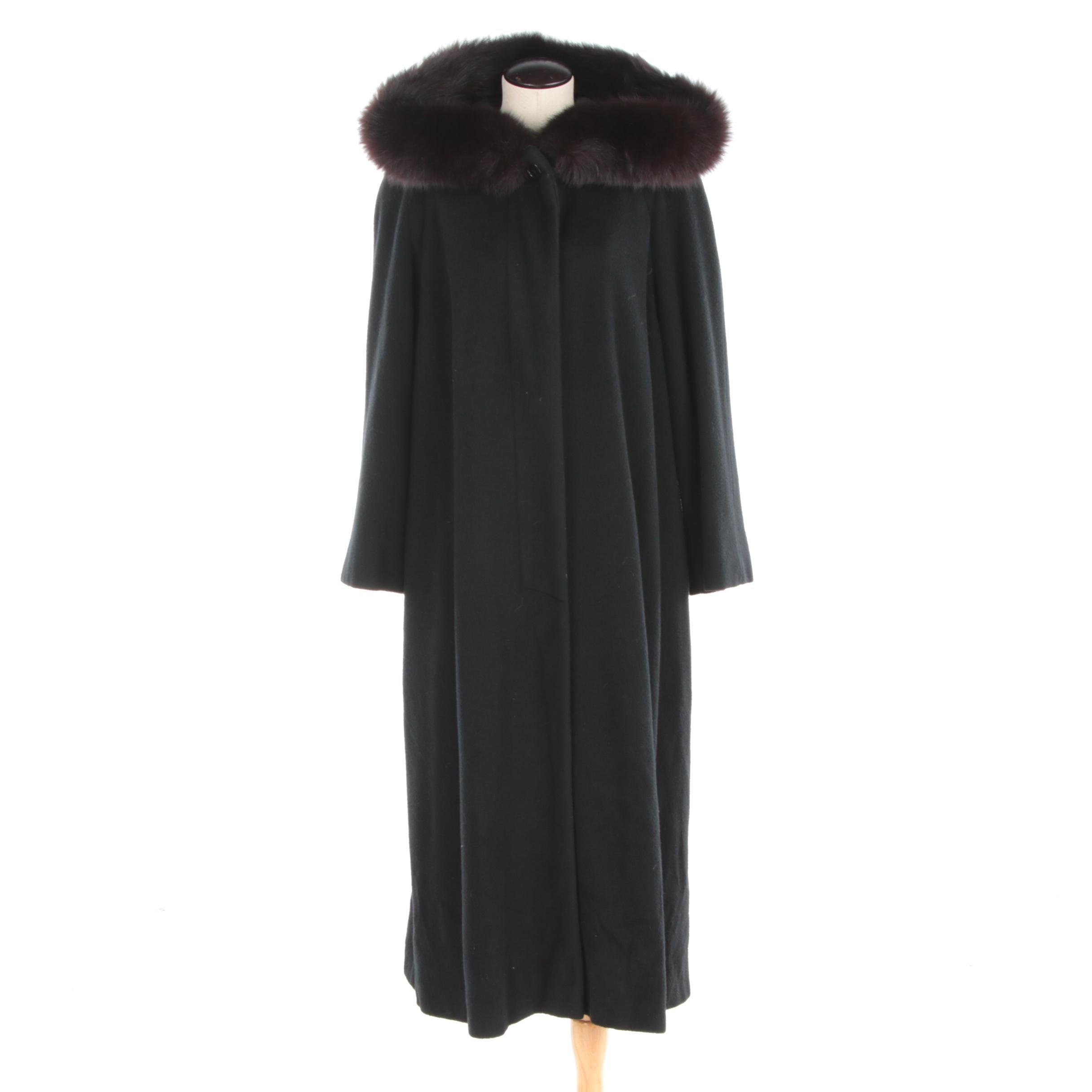 Women's Vintage Black Cashmere Full-Length Coat with Fox Fur Trimmed Hood