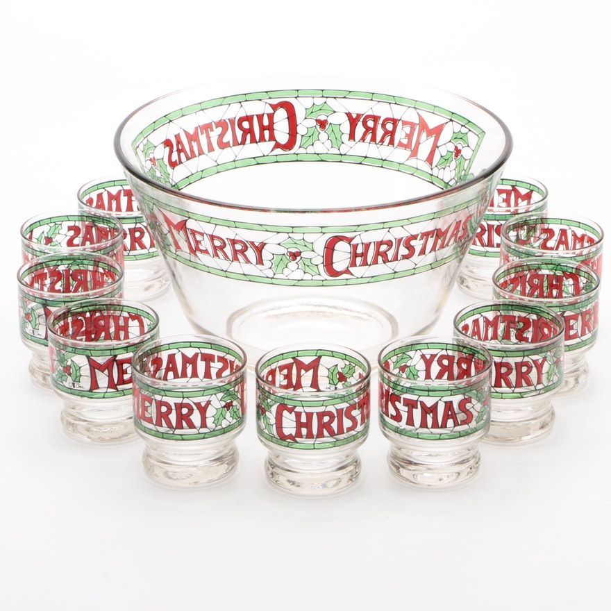 "Cera Glass ""Merry Christmas"" Punch Bowl Set"