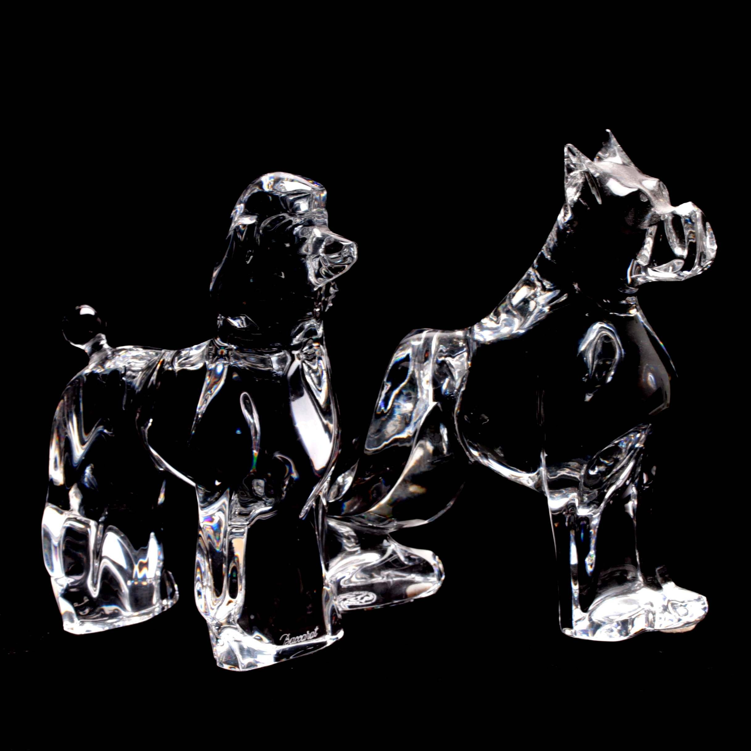 Baccarat Crystal Boxer and Poodle