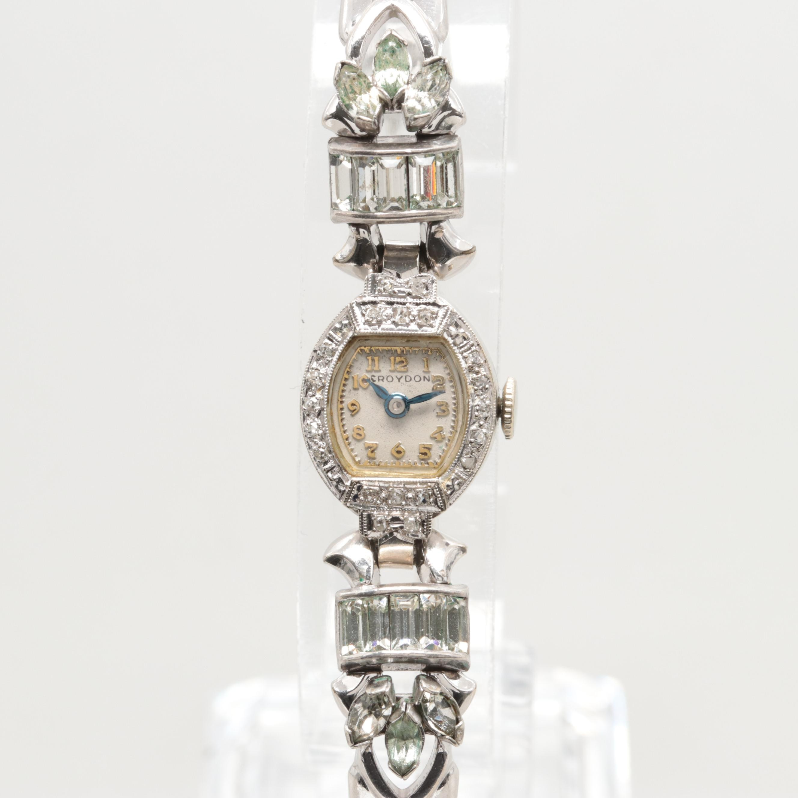 Vintage Croydon 14K White Gold Diamond Stem Wind Wristwatch