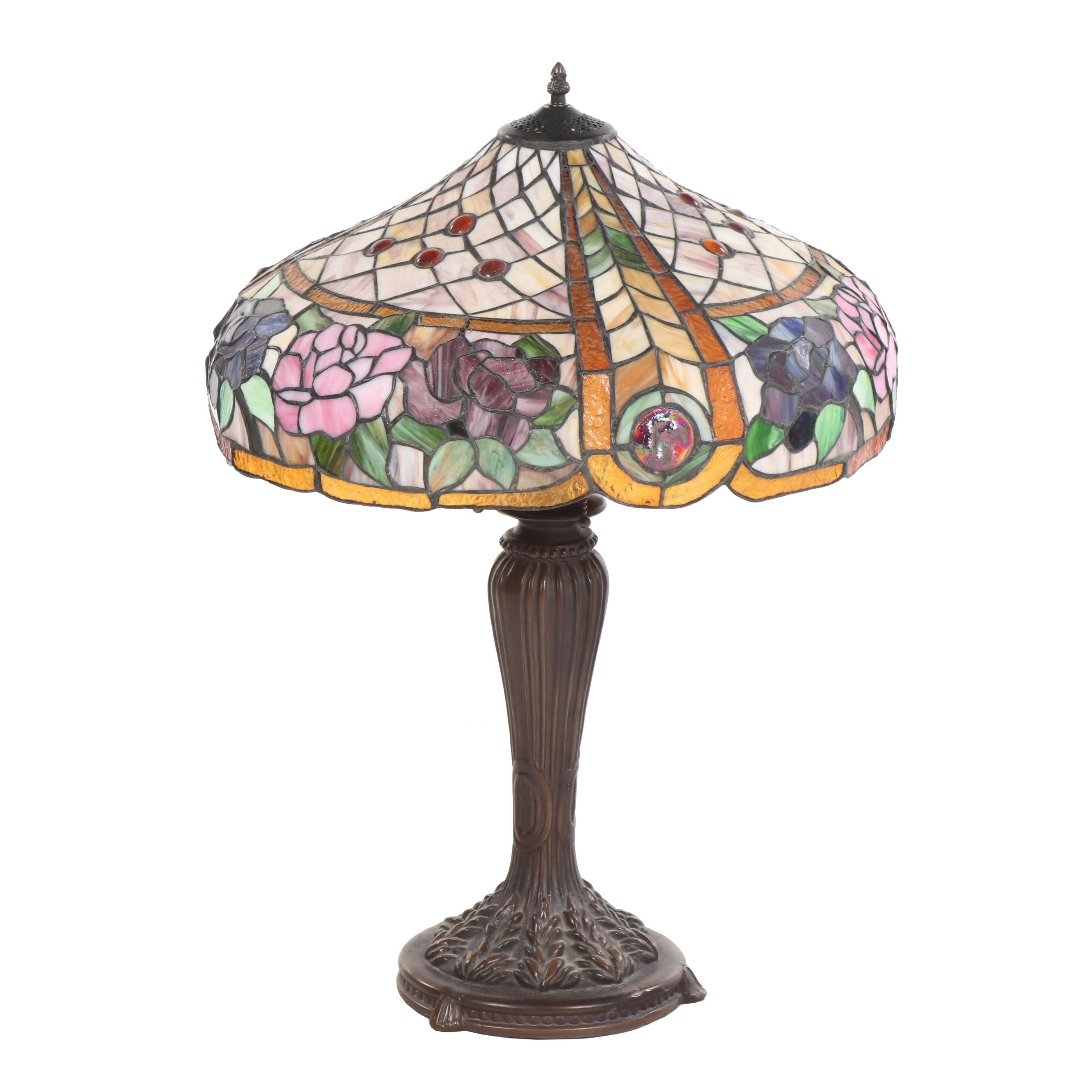 Metal Table Lamp with Rose and Basketweave Motif Stained Glass Shade
