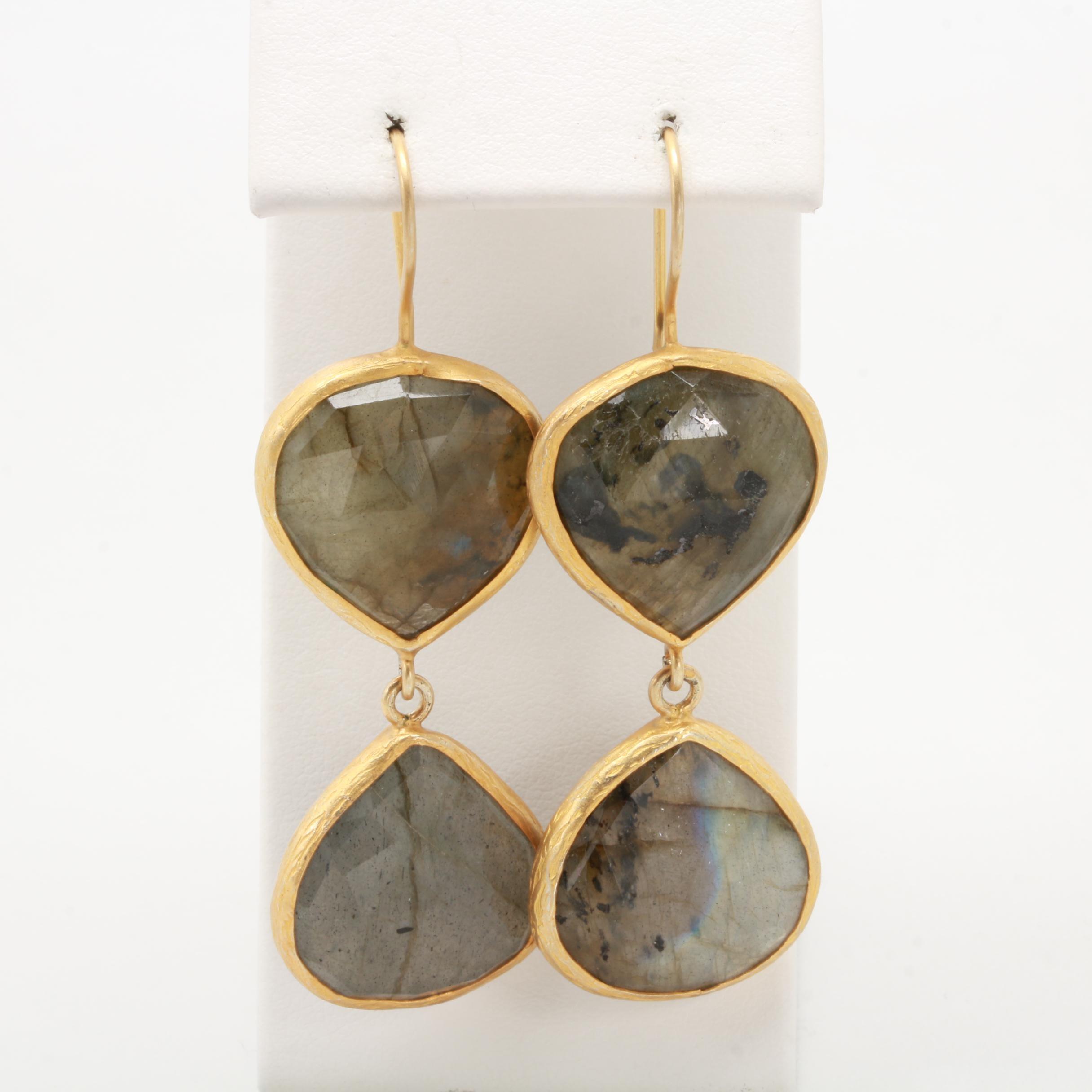 Gold Wash on Sterling Silver Labradorite Drop Earrings