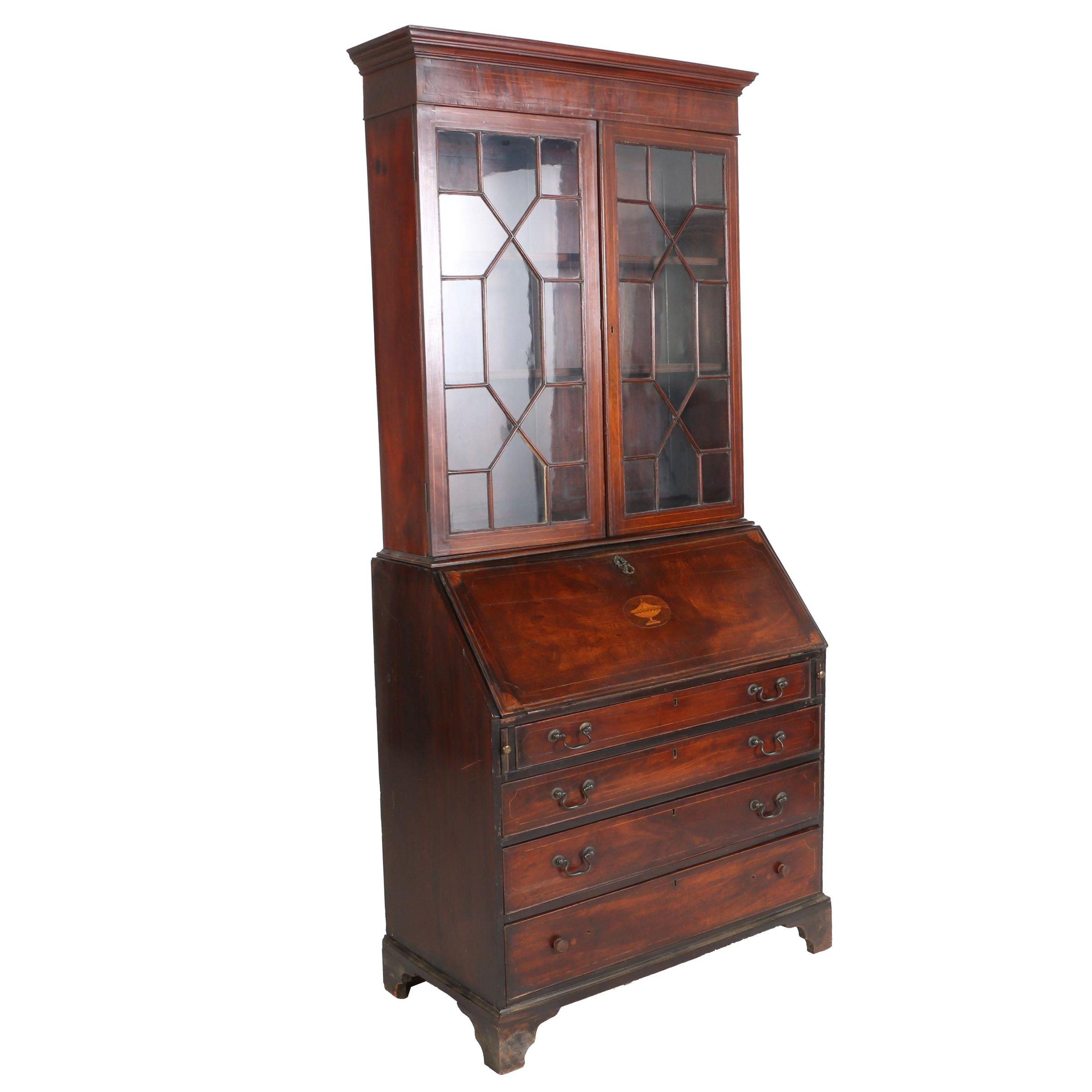 George III Mahogany and Marquetry Bureau Bookcase, Circa 1800