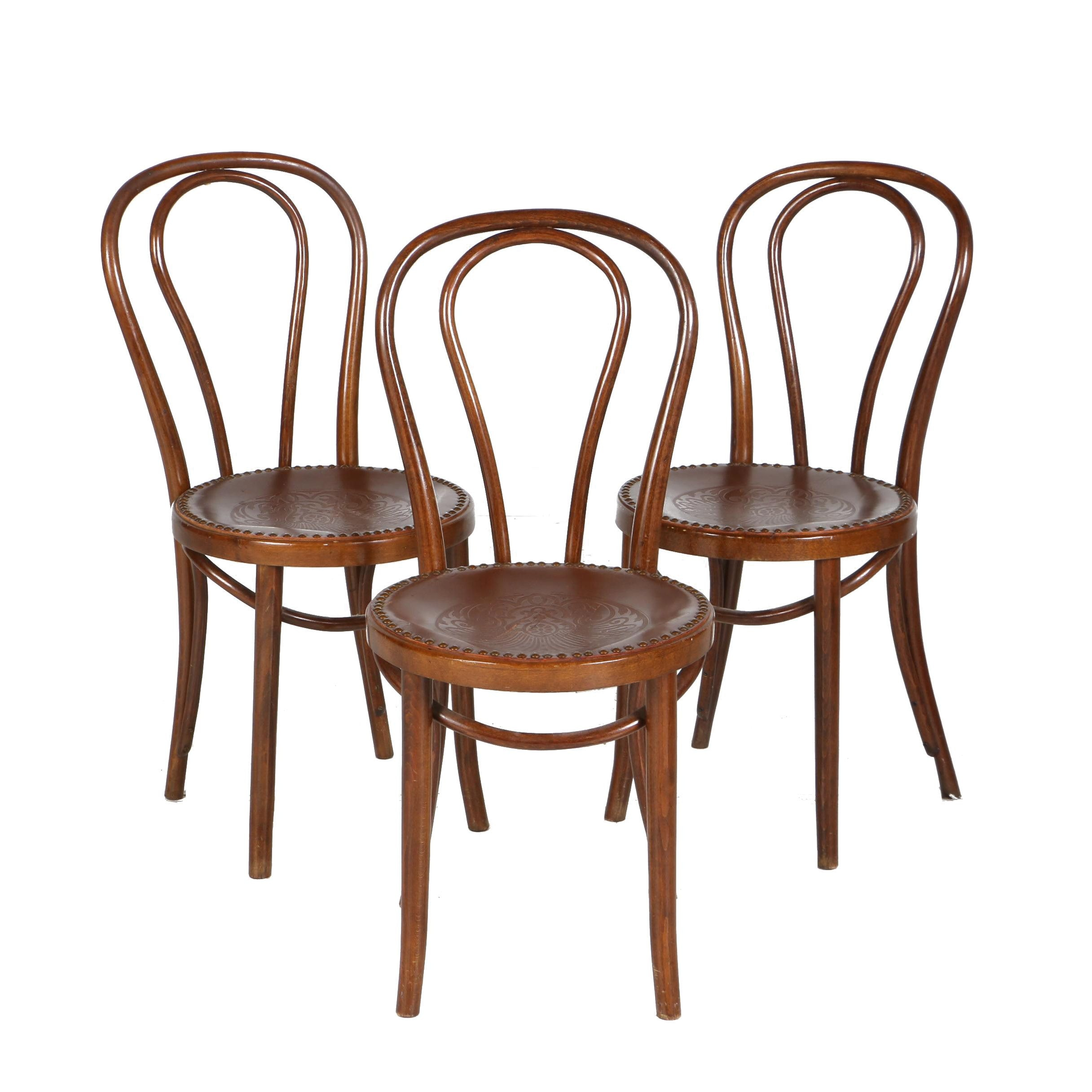 Three Bent-Beechwood Cafe Side Chairs in the Style of Thonet, Early 20th Century