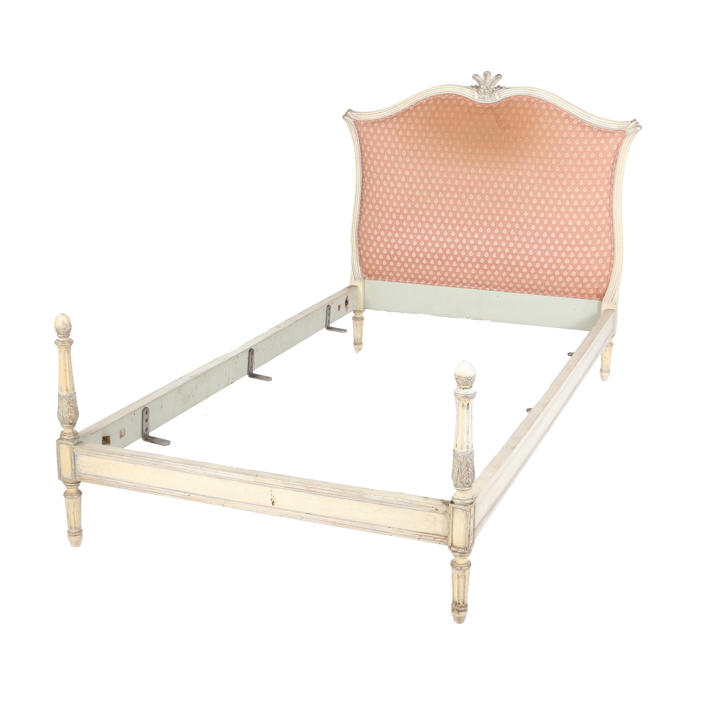 Louis XVI Style Cream-Painted and Parcel-Gilt Twin Size Bed Frame, 20th Century