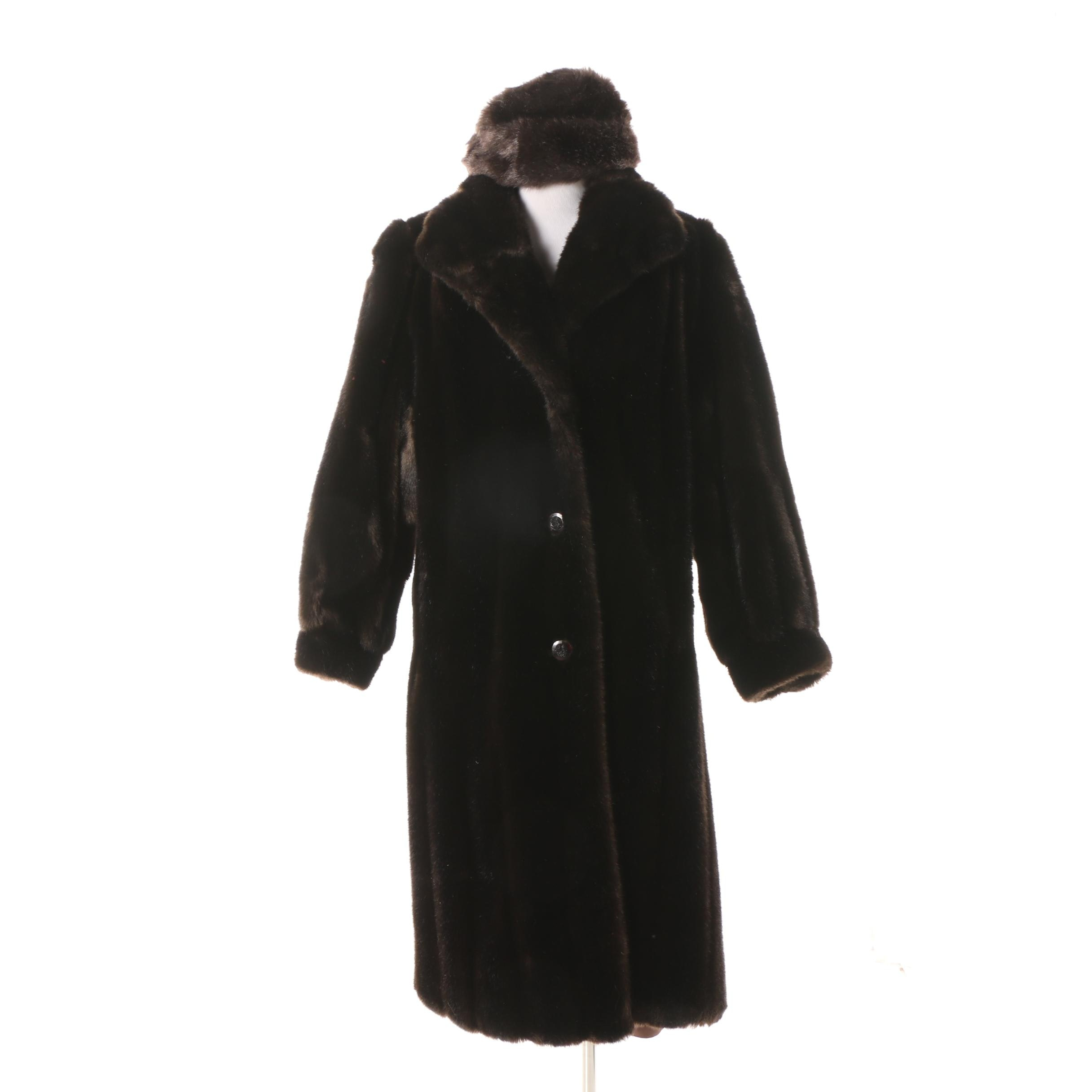 Women's Circa 1960s Vintage Tissavel Brown Faux Fur Coat with Matching Hat