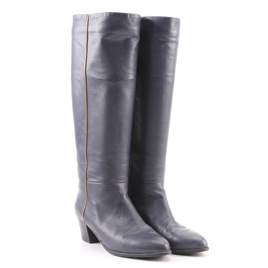 a14991122b5 Women s Bruno Magli Navy Blue Leather Knee-High Boots   EBTH