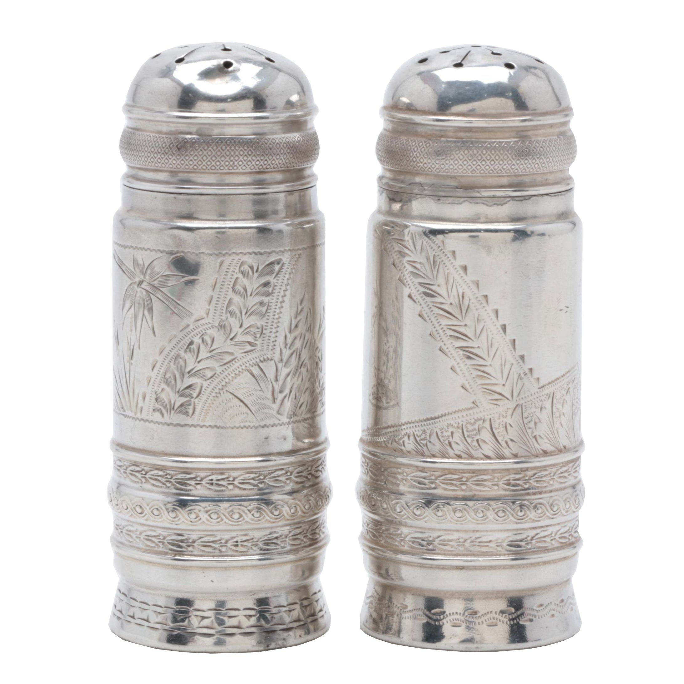 Gorham Sterling Silver Aesthetic Movement Salt and Pepper Shakers