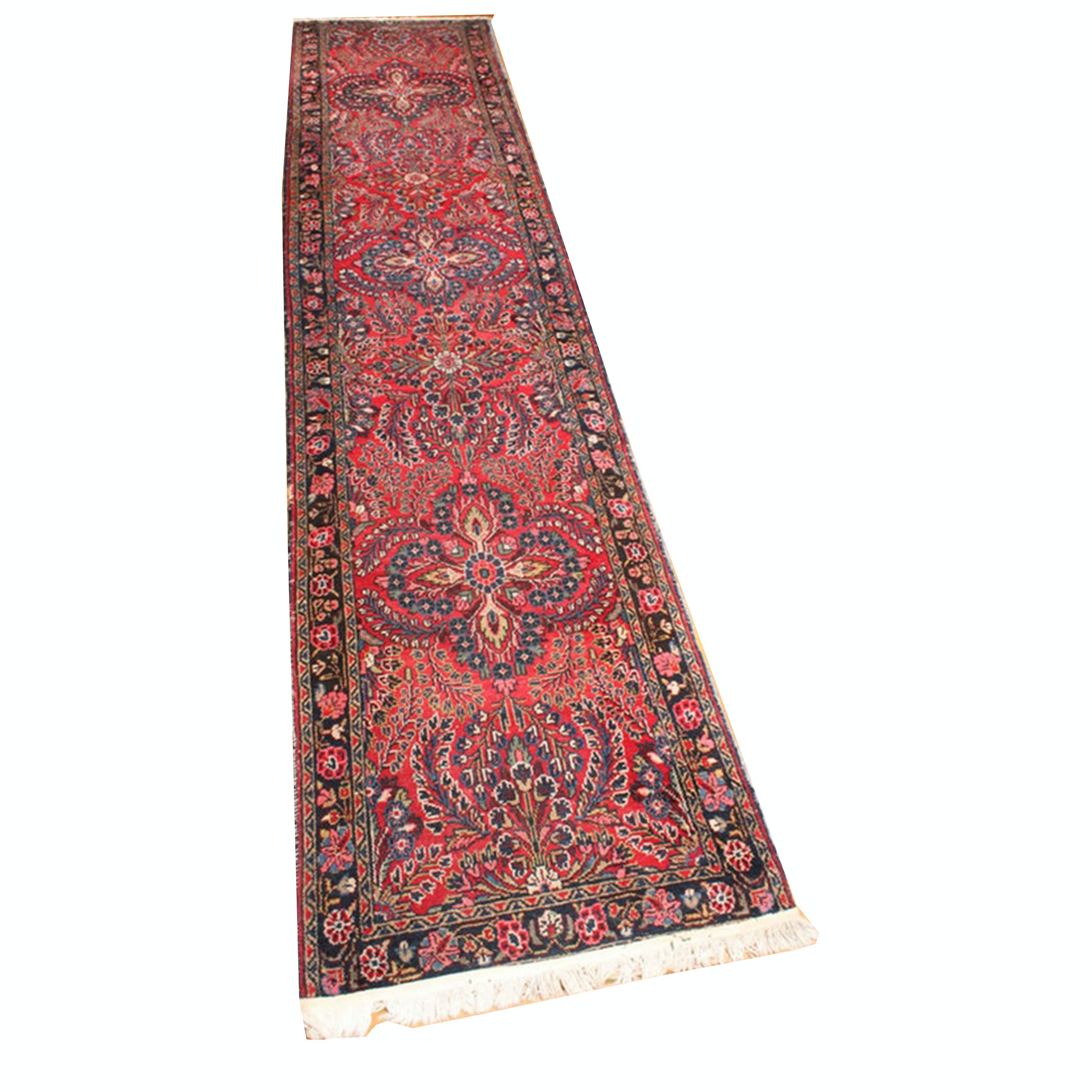 Vintage Hand-Knotted Persian Rug Runner