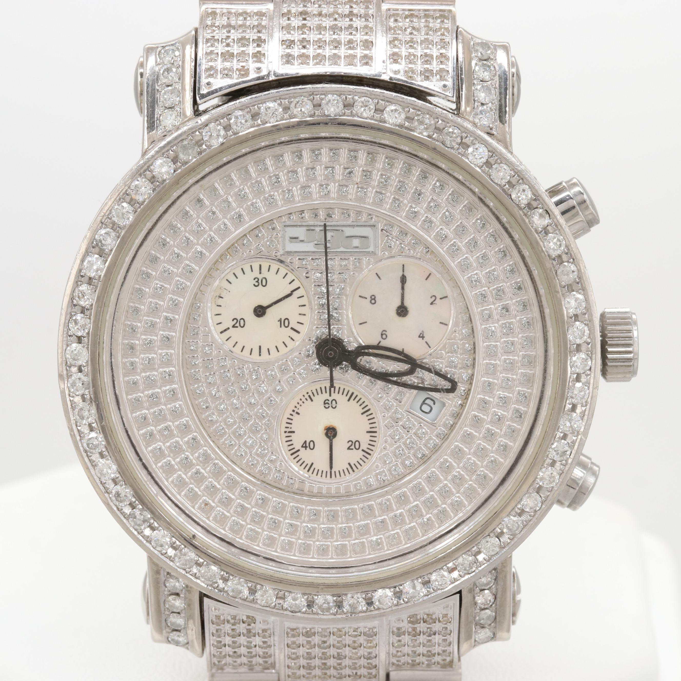 JoJo 7.93 CTW Diamond and Mother of Pearl Quartz Chronograph Wristwatch