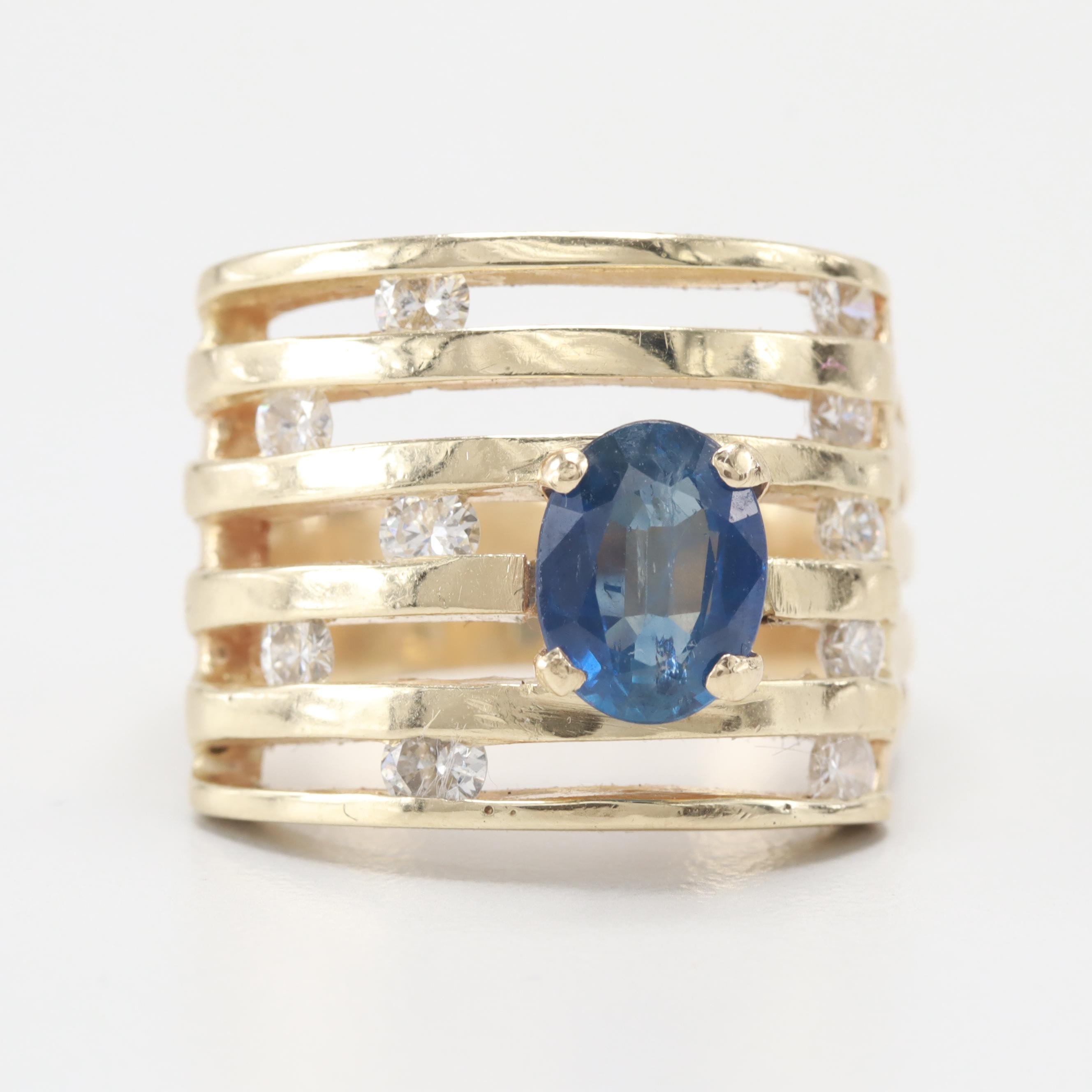 14K Yellow Gold Blue Sapphire and Diamond Contemporary Ring