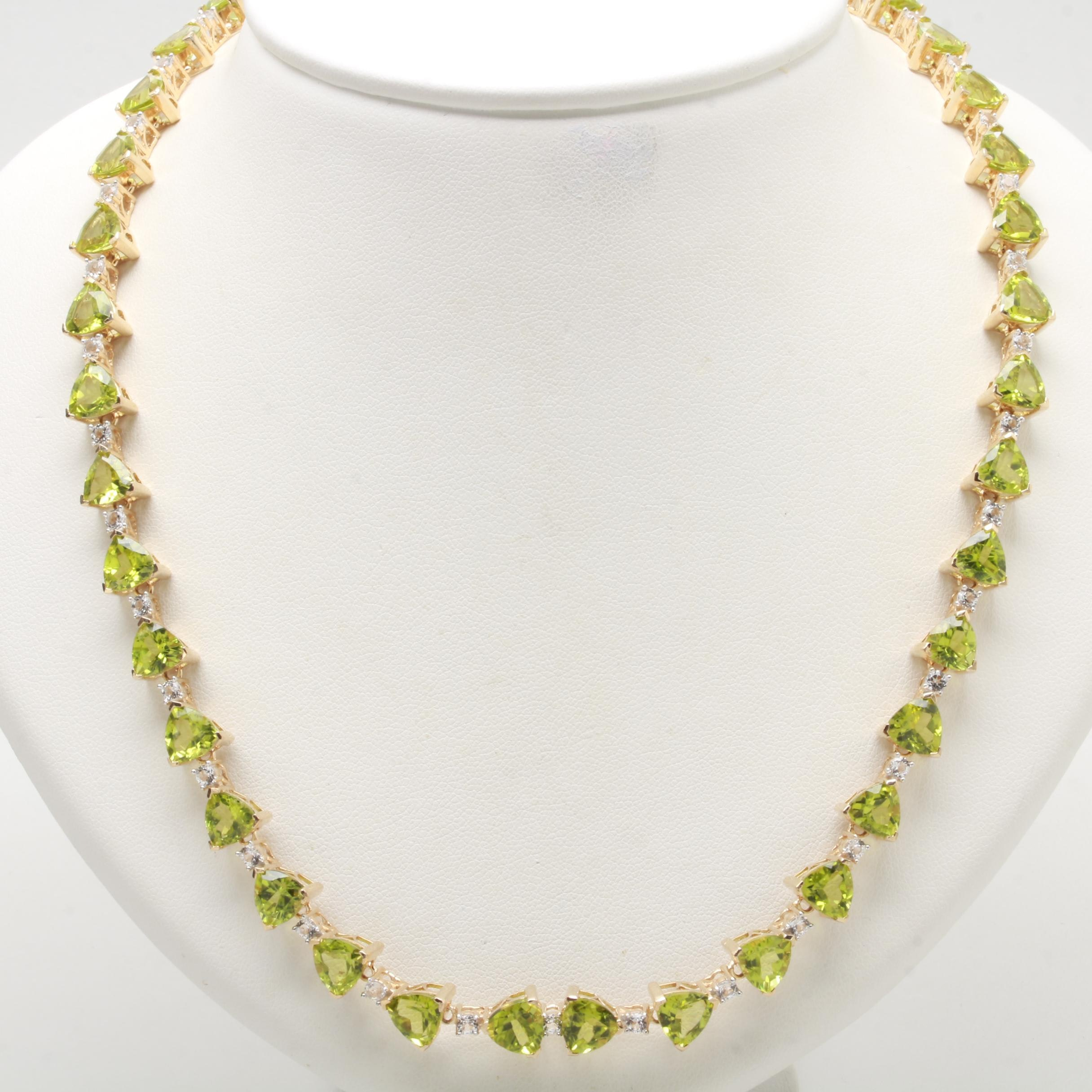 Gold Wash on Sterling Silver Peridot and White Topaz Necklace