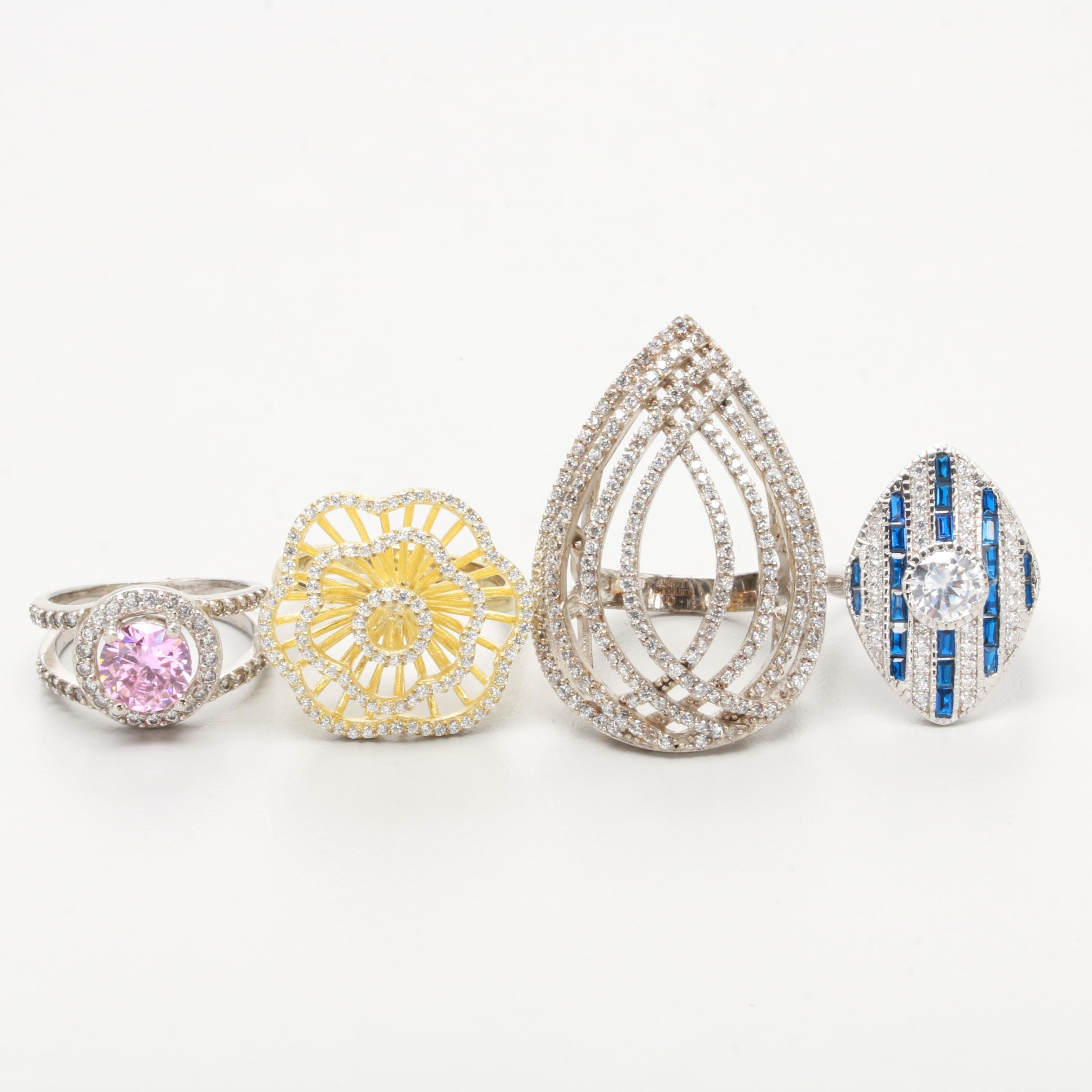Sterling Silver Synthetic Spinel and Cubic Zirconia Rings