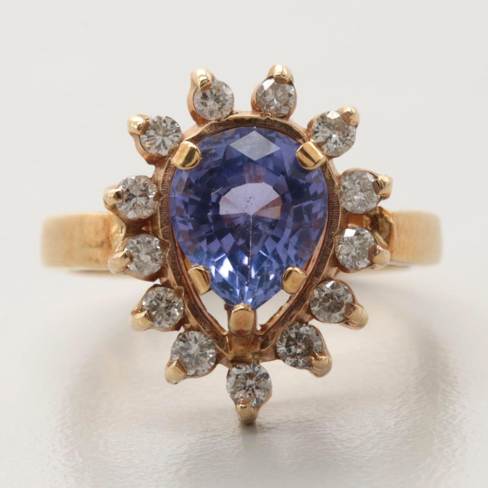 18K Yellow Gold Tanzanite and Diamond Ring