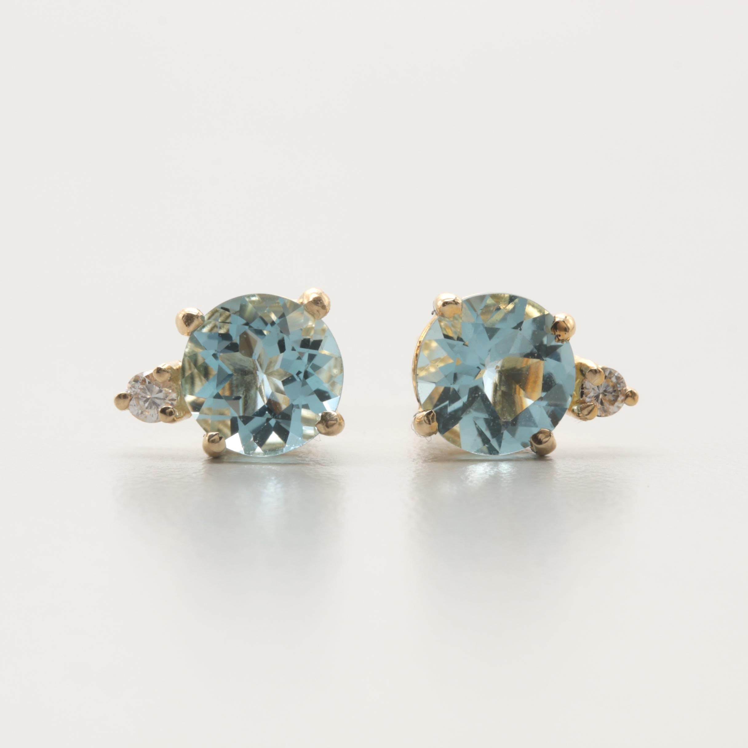 14K Yellow Gold Aquamarine and Diamond Earrings