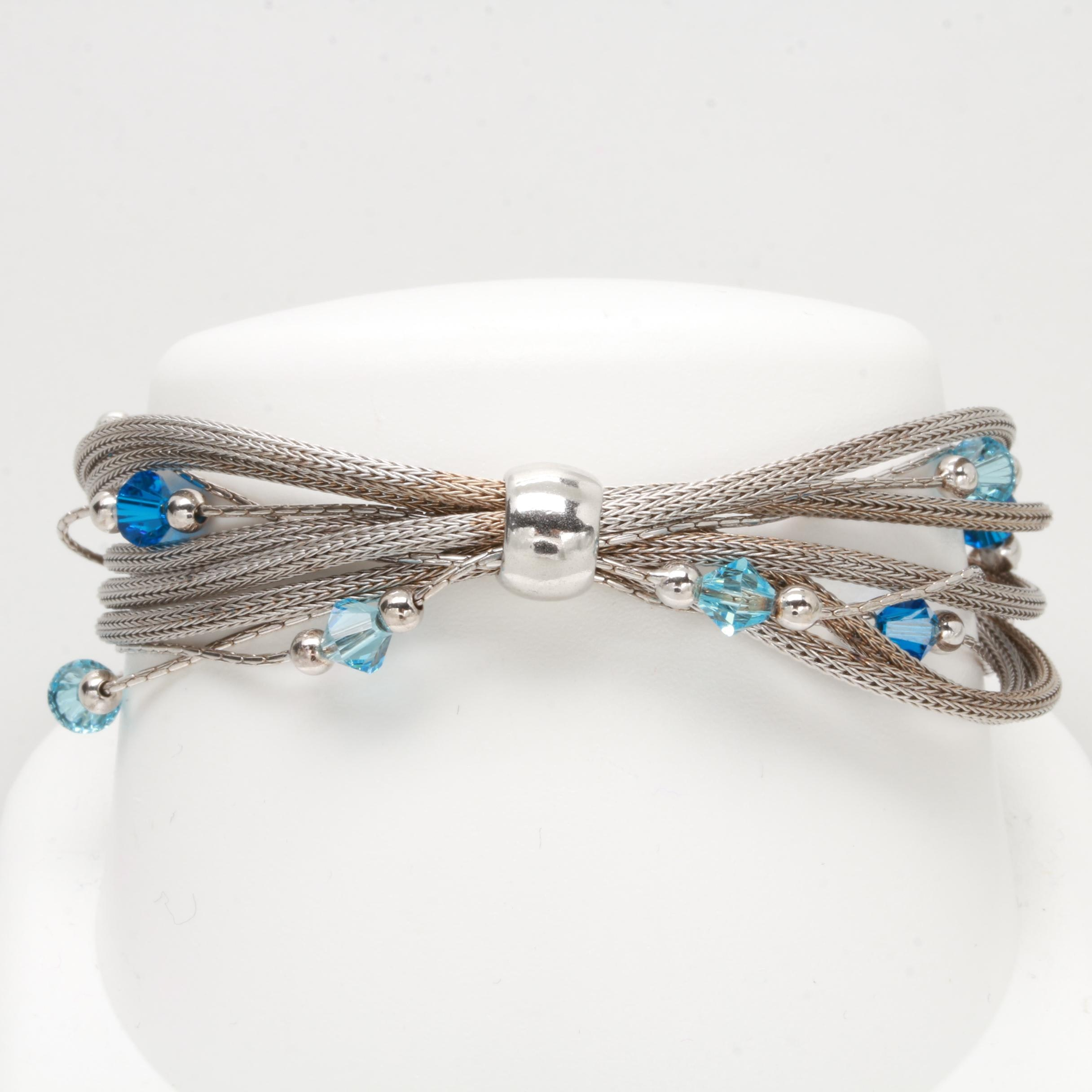 Sterling Silver Bracelet with Blue Glass Stones