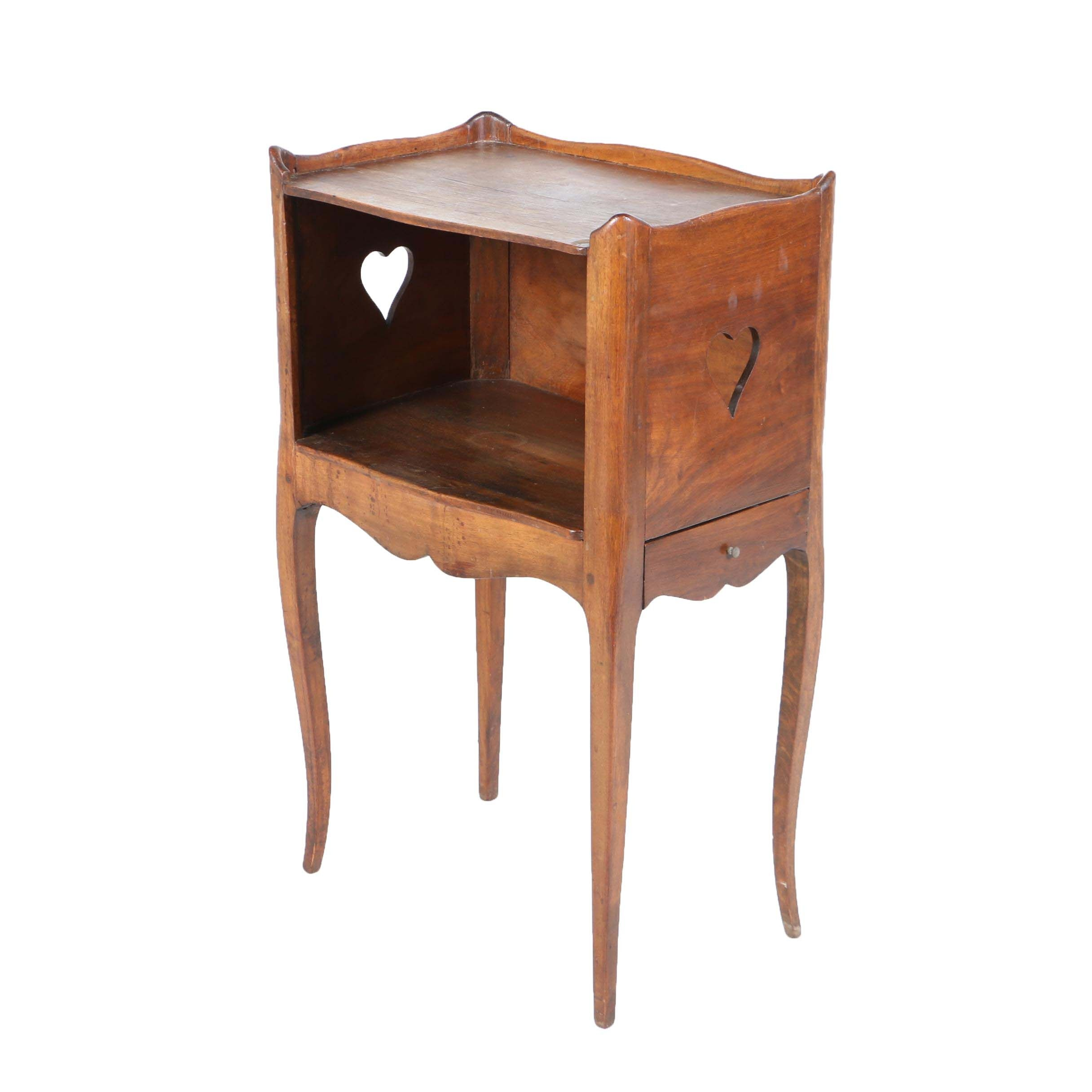 Louis XV Style Walnut Bedside Stand with Drawer, 20th Century