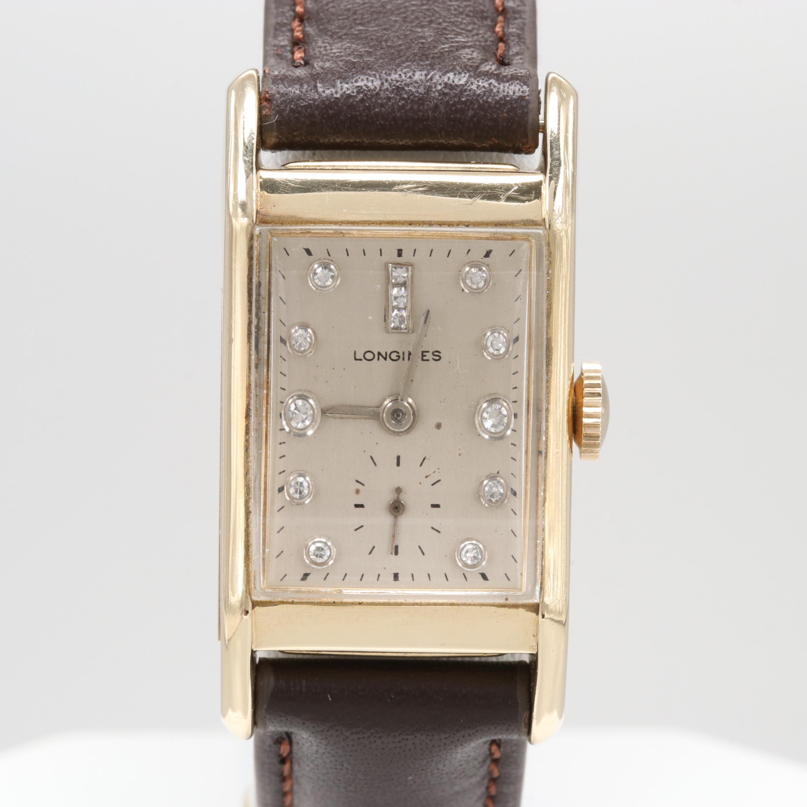 Vintage Longines 14K Yellow Gold Stem Wind Wristwatch With Diamond Dial