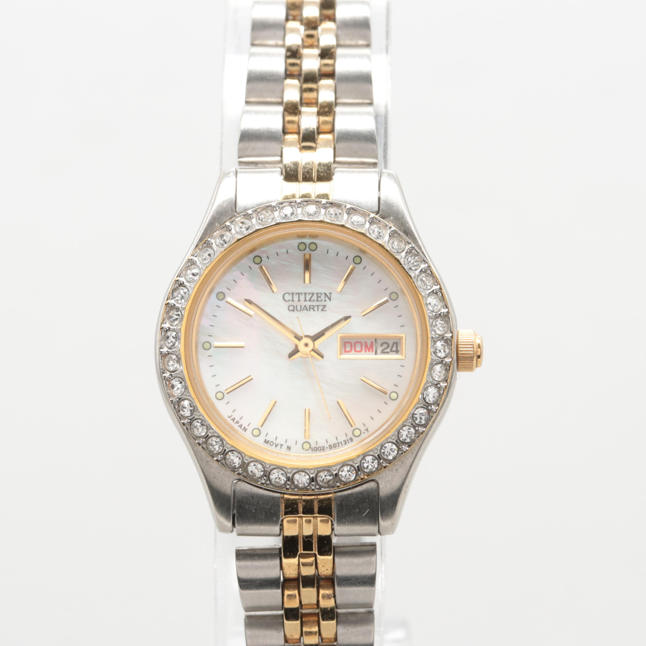 Citizen Stainless Steel Mother of Pearl and Swarovski Crystal Wristwatch