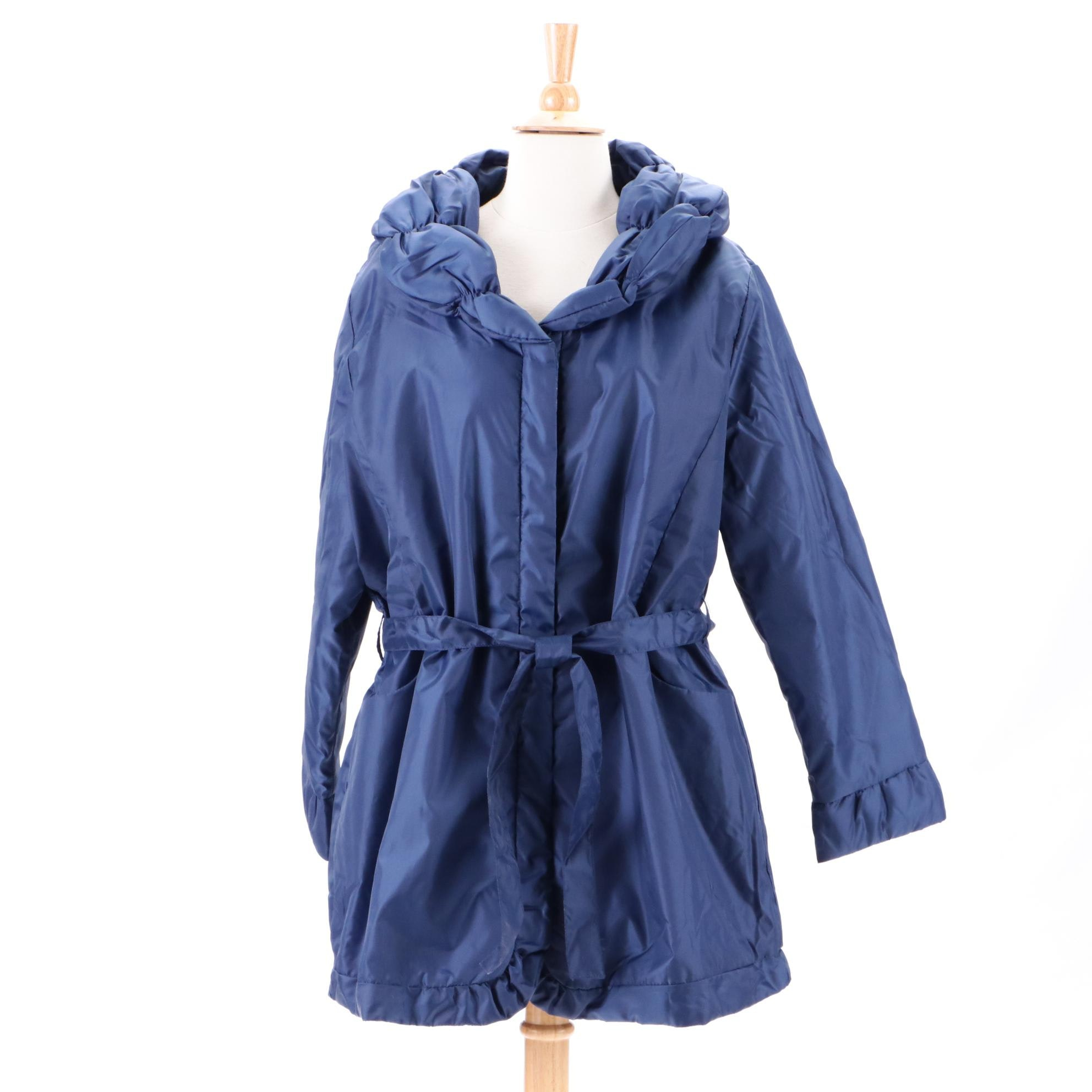 Women's Blue Button-Down Coat with Tie Belt