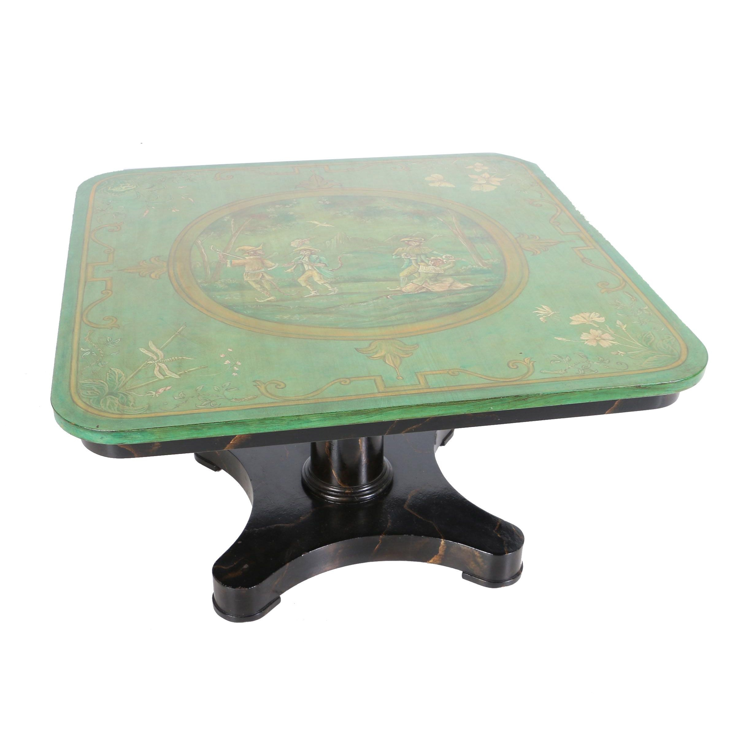 Hand-Painted Table with Adjustable Top by Old Colony Furniture Co., 20th Century