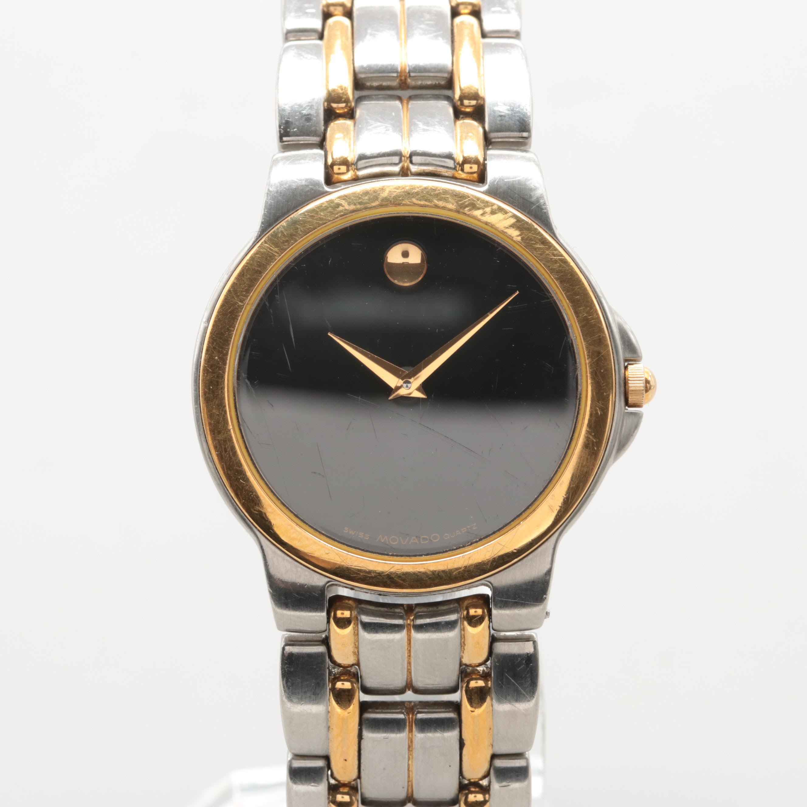 Movado Two-Tone Stainless Steel Museum Piece Wristwatch With Black Dial