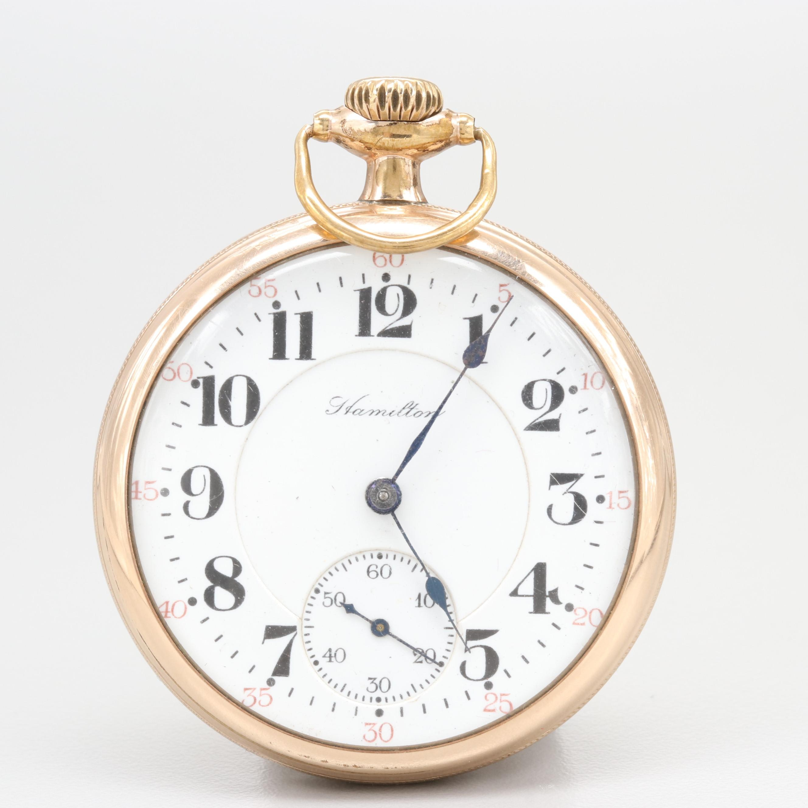 Hamilton Gold Filled Open Face Pocket Watch 1919