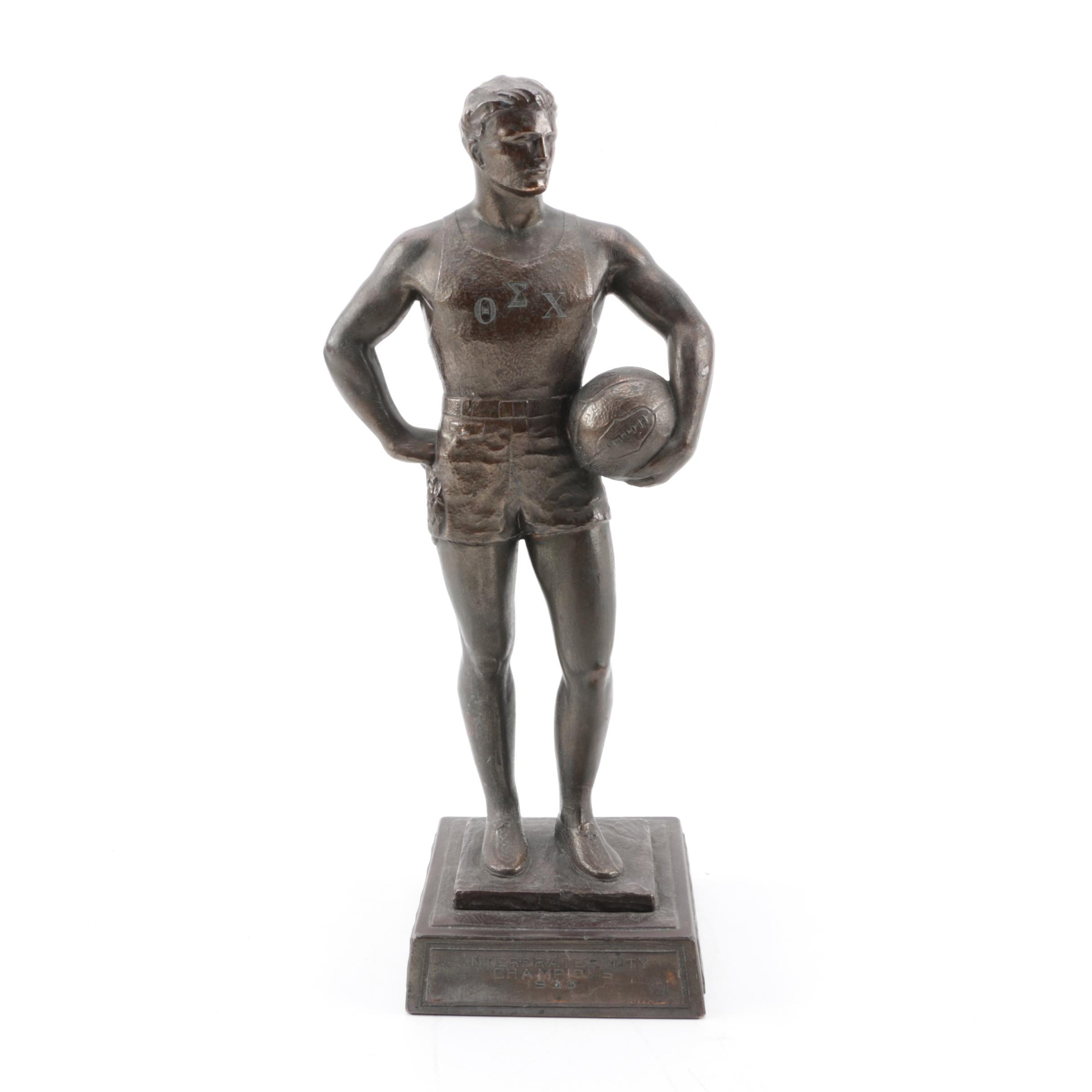 Interfraternity Basketball Championship Bronze Metallic Trophy, 1933