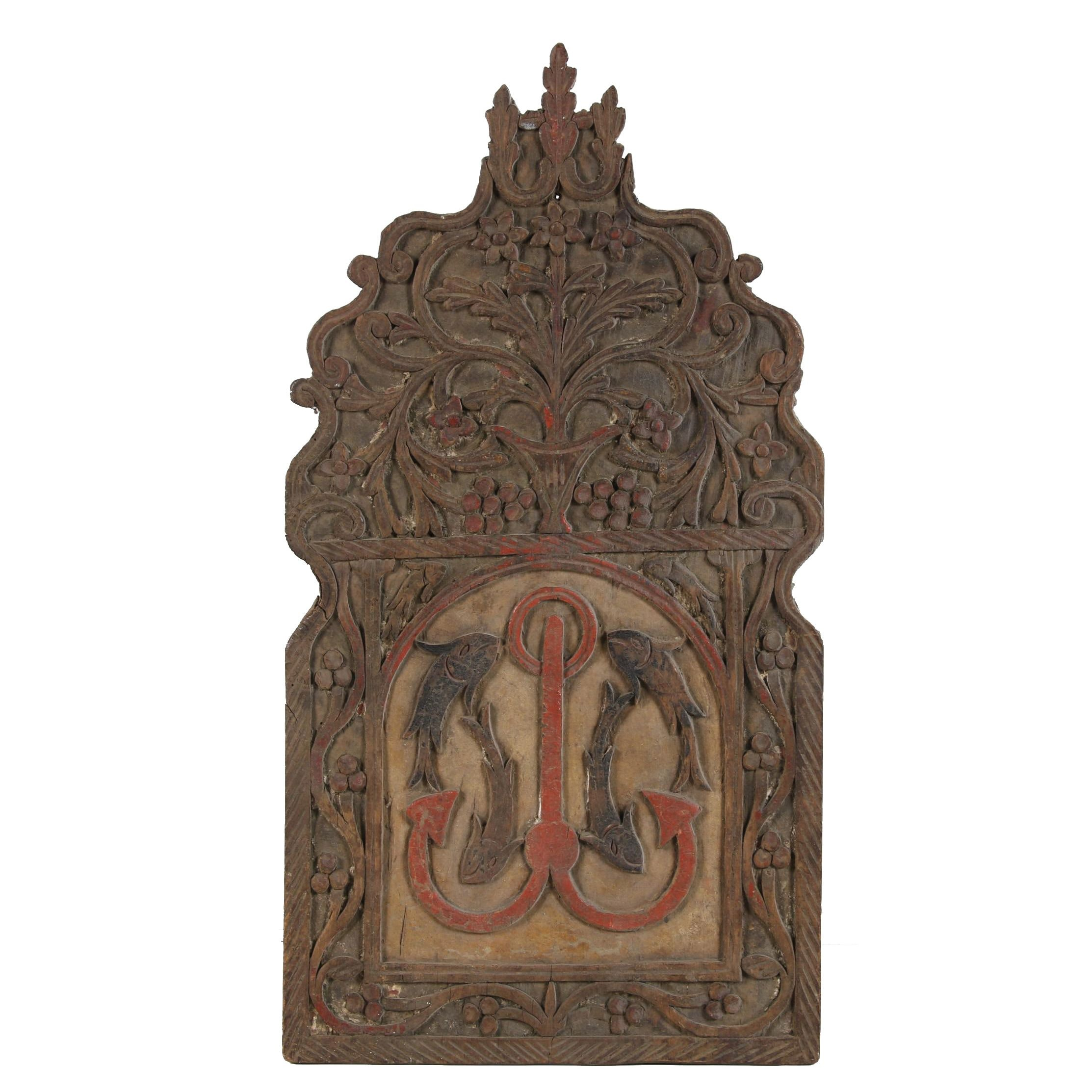 European Carved Polychrome Wood Sign Symbolic of Jesus Christ, Probably 19th C